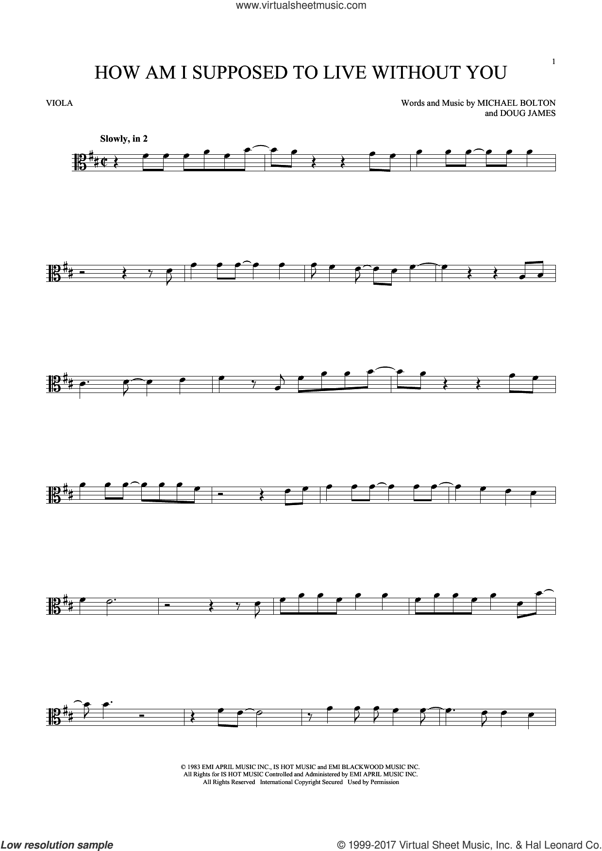 How Am I Supposed To Live Without You sheet music for viola solo by Doug James and Michael Bolton. Score Image Preview.