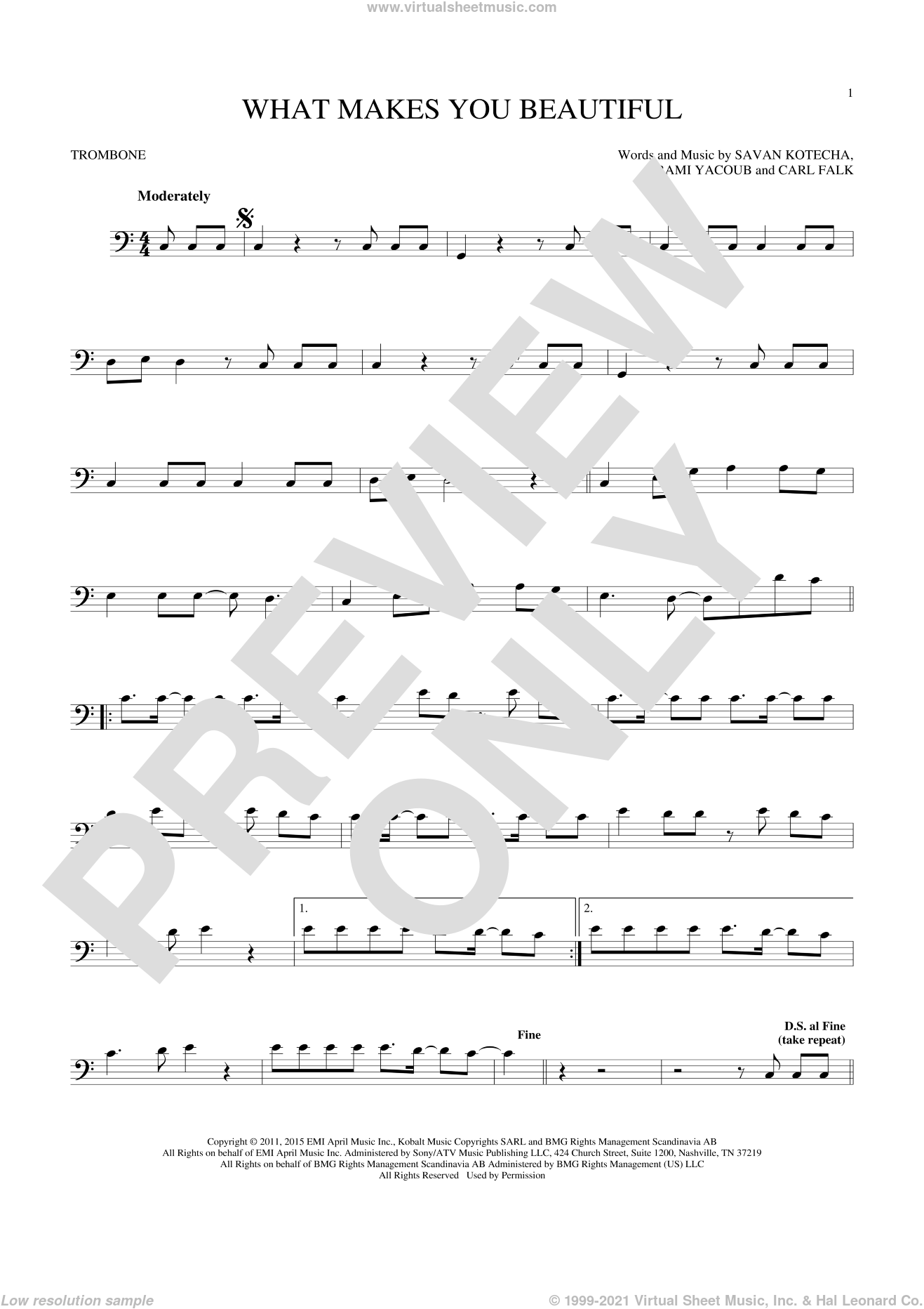 What Makes You Beautiful sheet music for trombone solo by One Direction, Carl Falk, Rami and Savan Kotecha, intermediate skill level