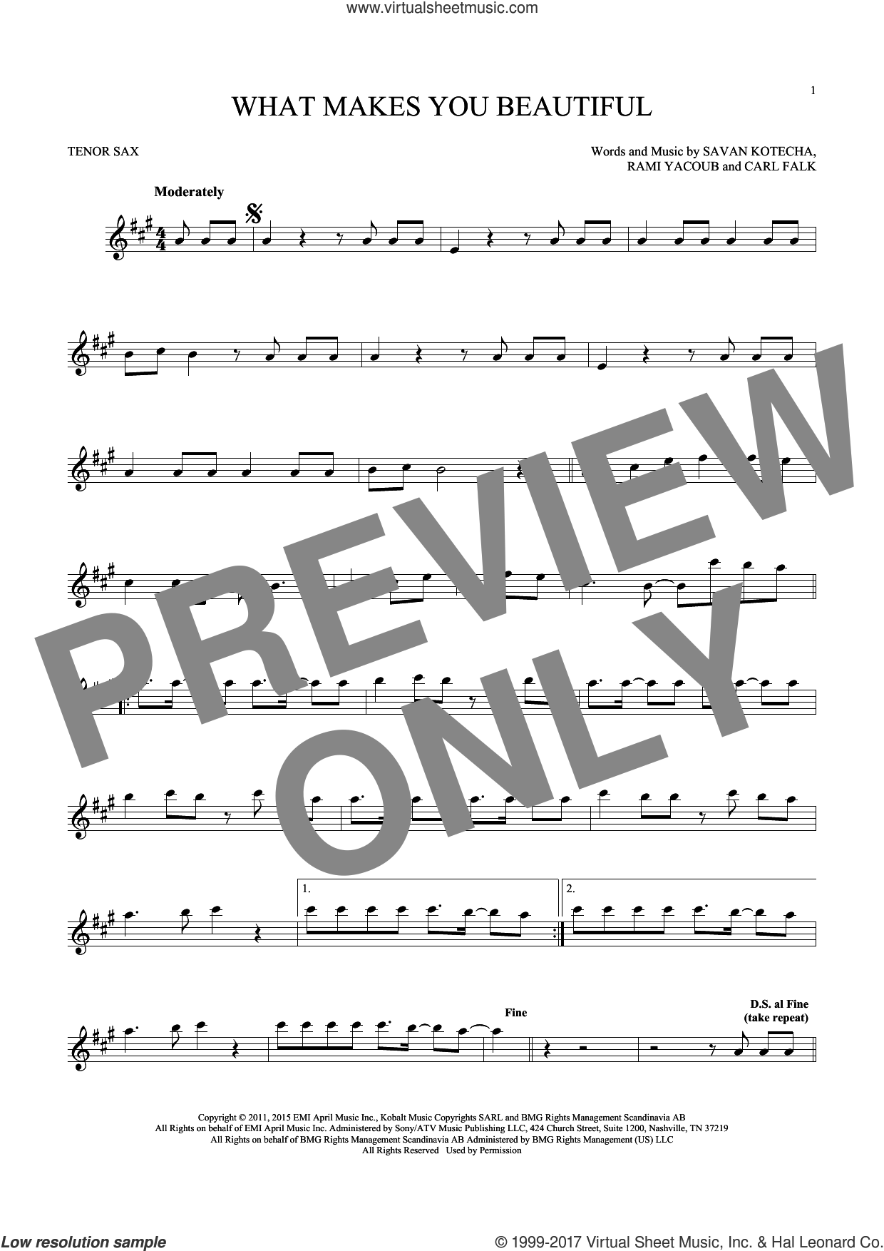 What Makes You Beautiful sheet music for tenor saxophone solo ( Sax) by One Direction, Carl Falk, Rami and Savan Kotecha, intermediate tenor saxophone ( Sax). Score Image Preview.