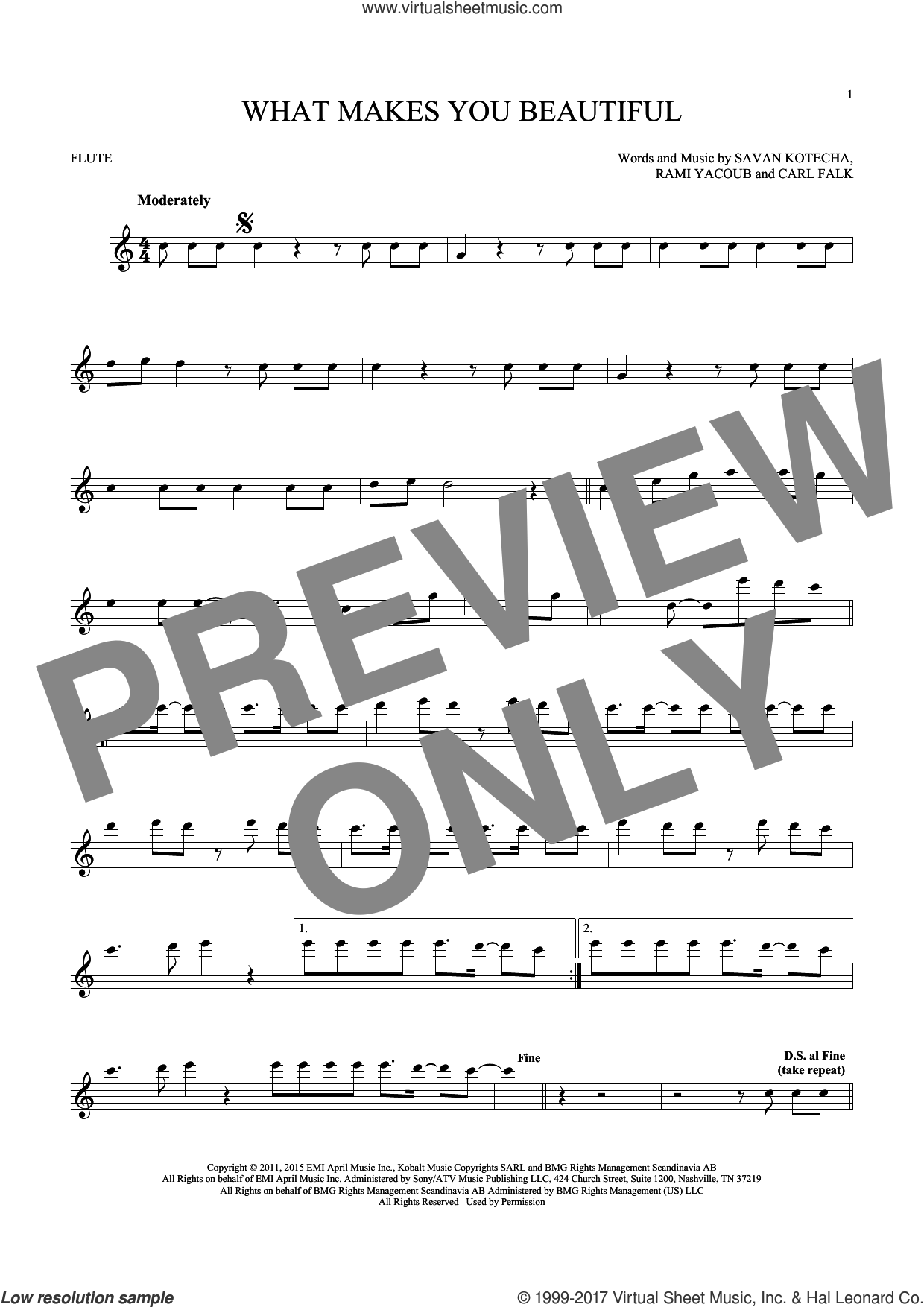 What Makes You Beautiful sheet music for flute solo by One Direction, Carl Falk, Rami and Savan Kotecha, intermediate skill level