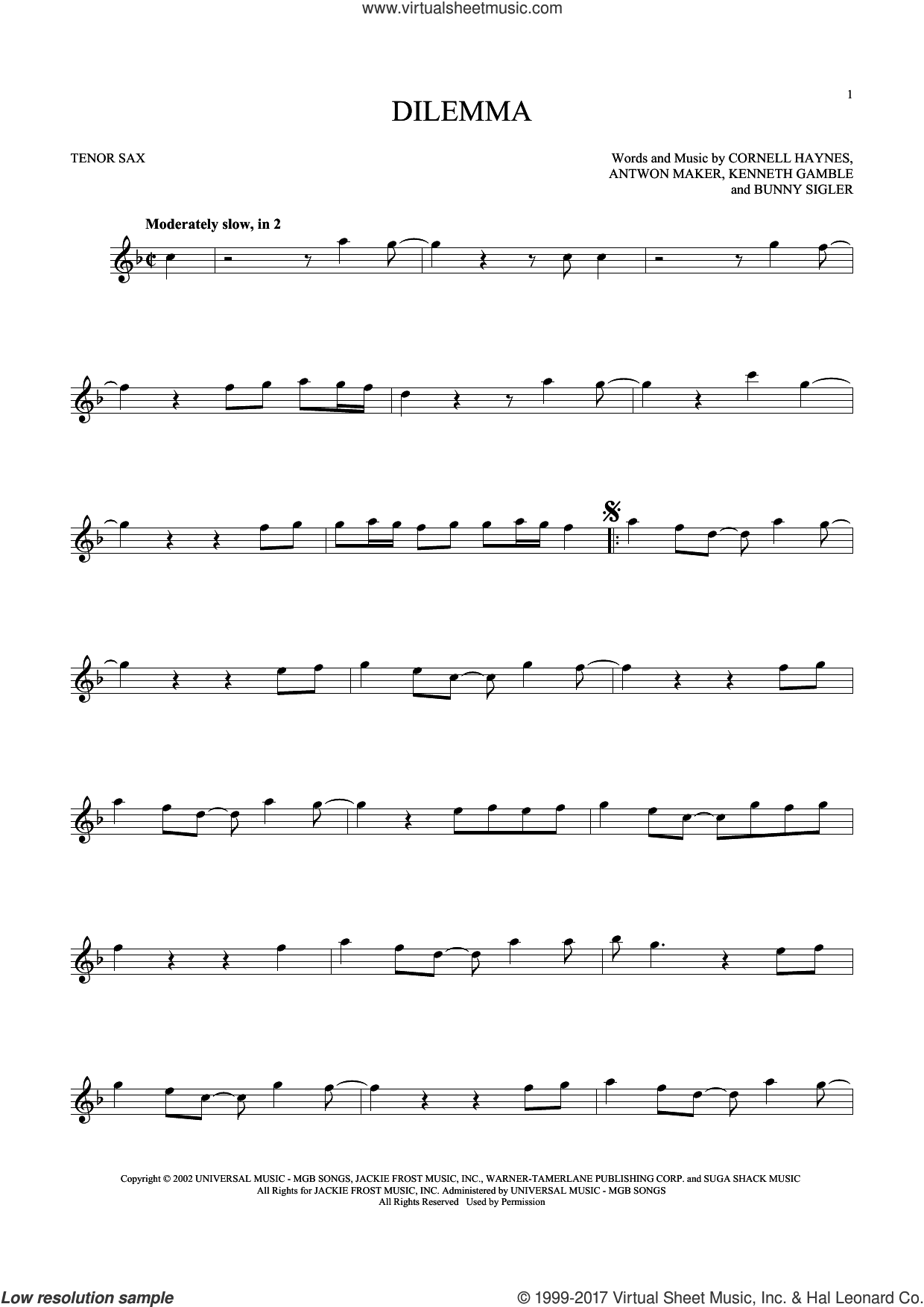 Dilemma sheet music for tenor saxophone solo ( Sax) by Nelly featuring Kelly Rowland and Kenneth Gamble, intermediate tenor saxophone ( Sax). Score Image Preview.