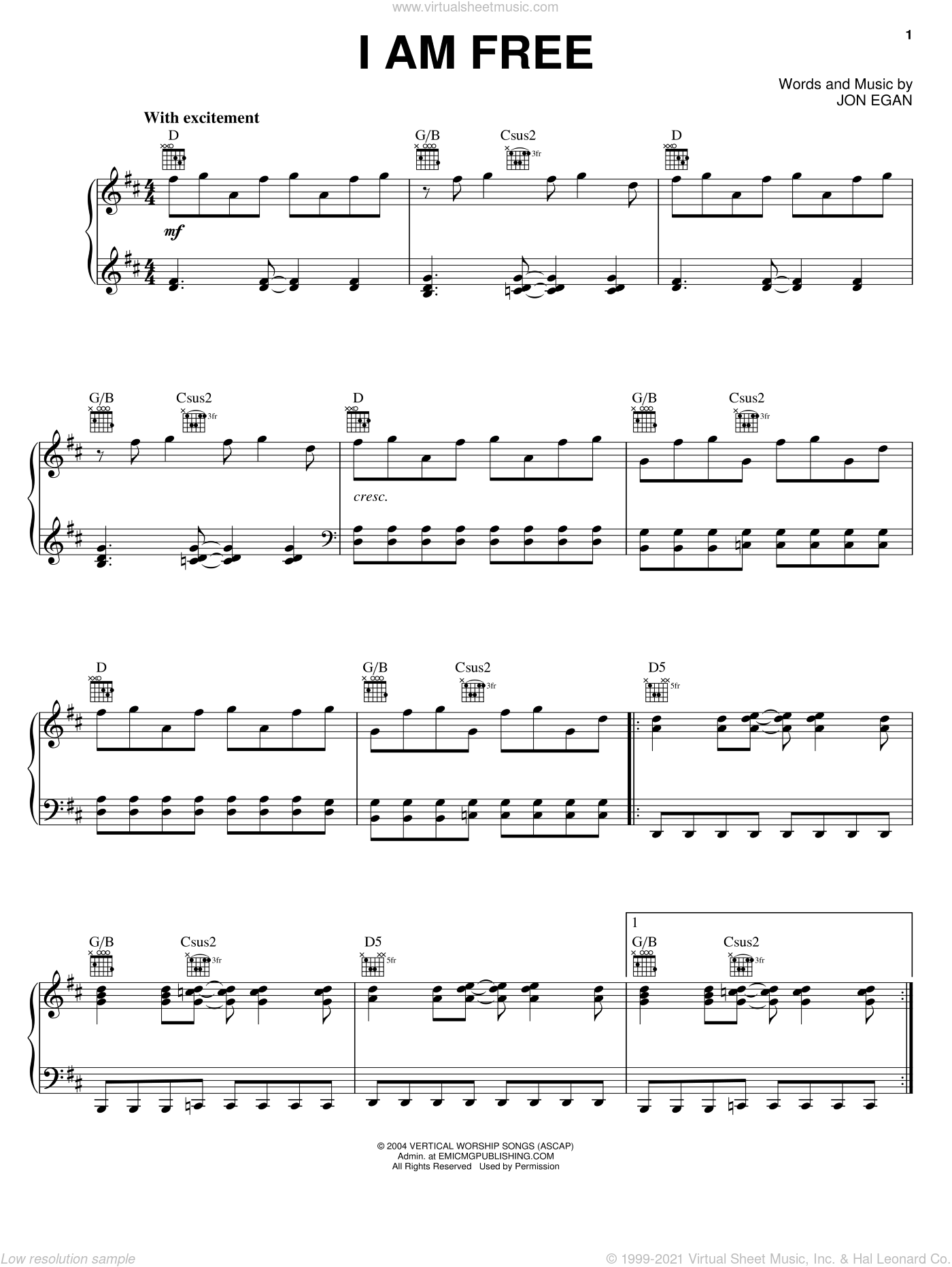 I Am Free sheet music for voice, piano or guitar by Newsboys and Jon Egan, intermediate skill level
