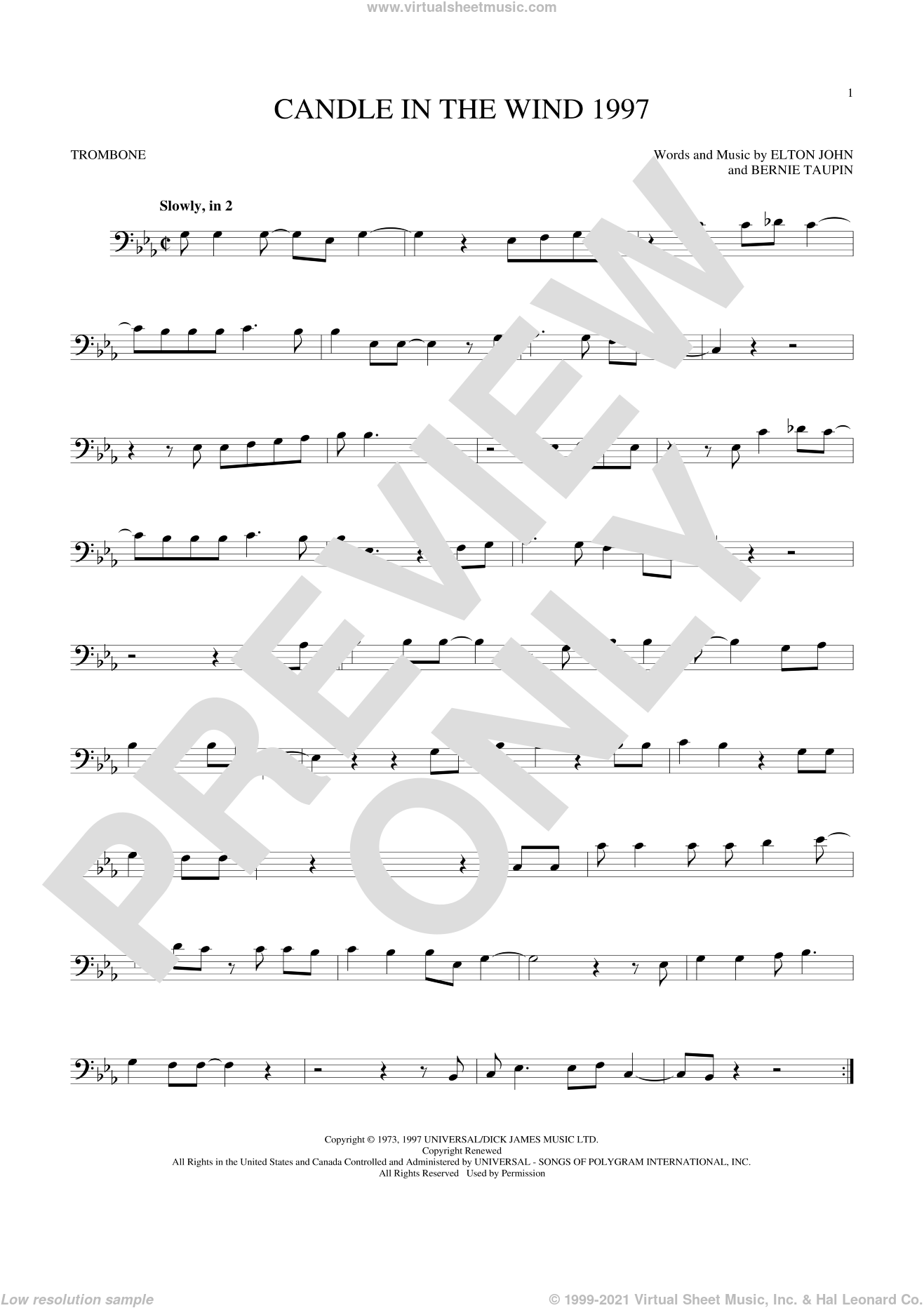 Candle In The Wind 1997 sheet music for trombone solo by Bernie Taupin and Elton John. Score Image Preview.