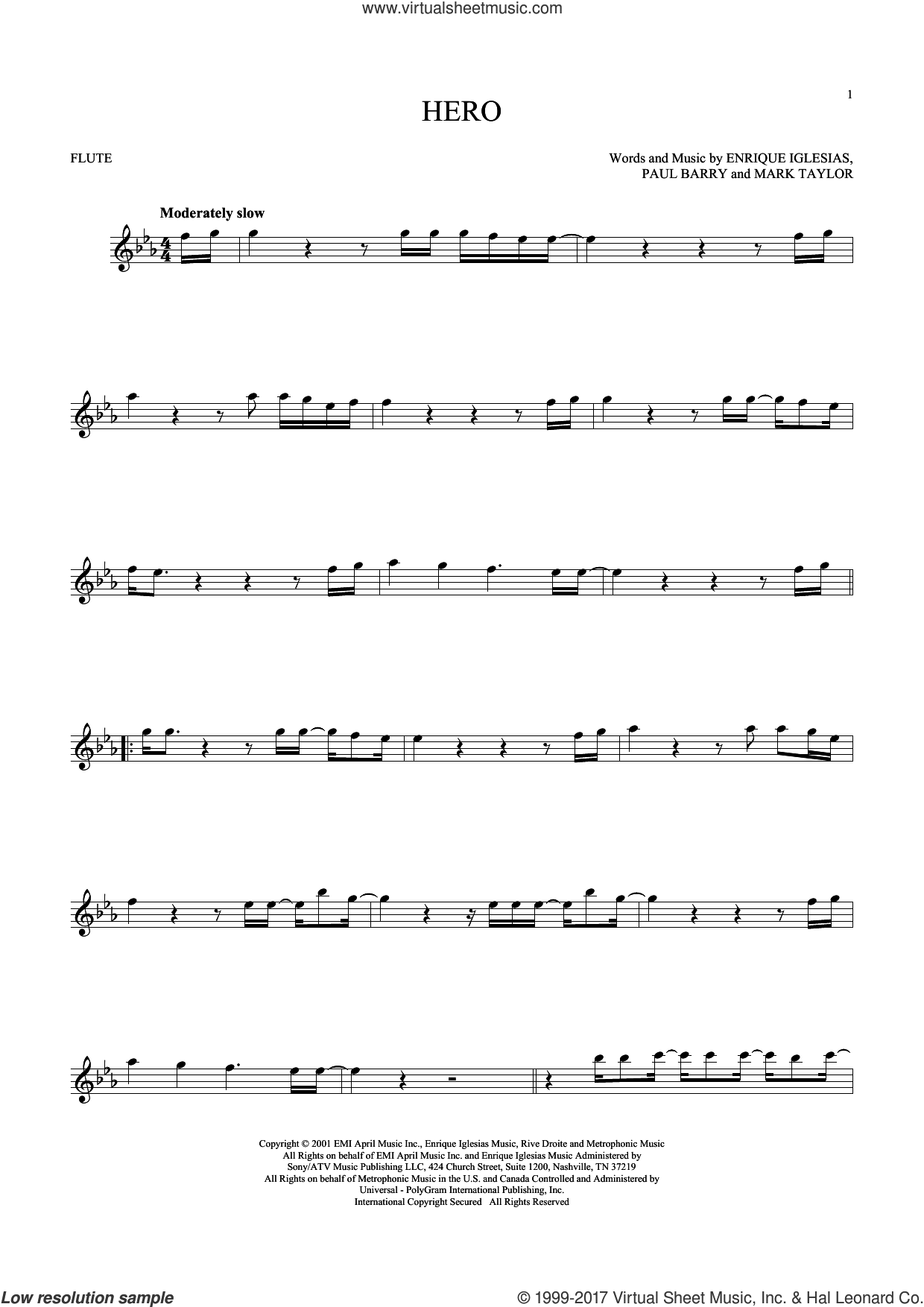 Hero sheet music for flute solo by Enrique Iglesias, Mark Taylor and Paul Barry, intermediate skill level