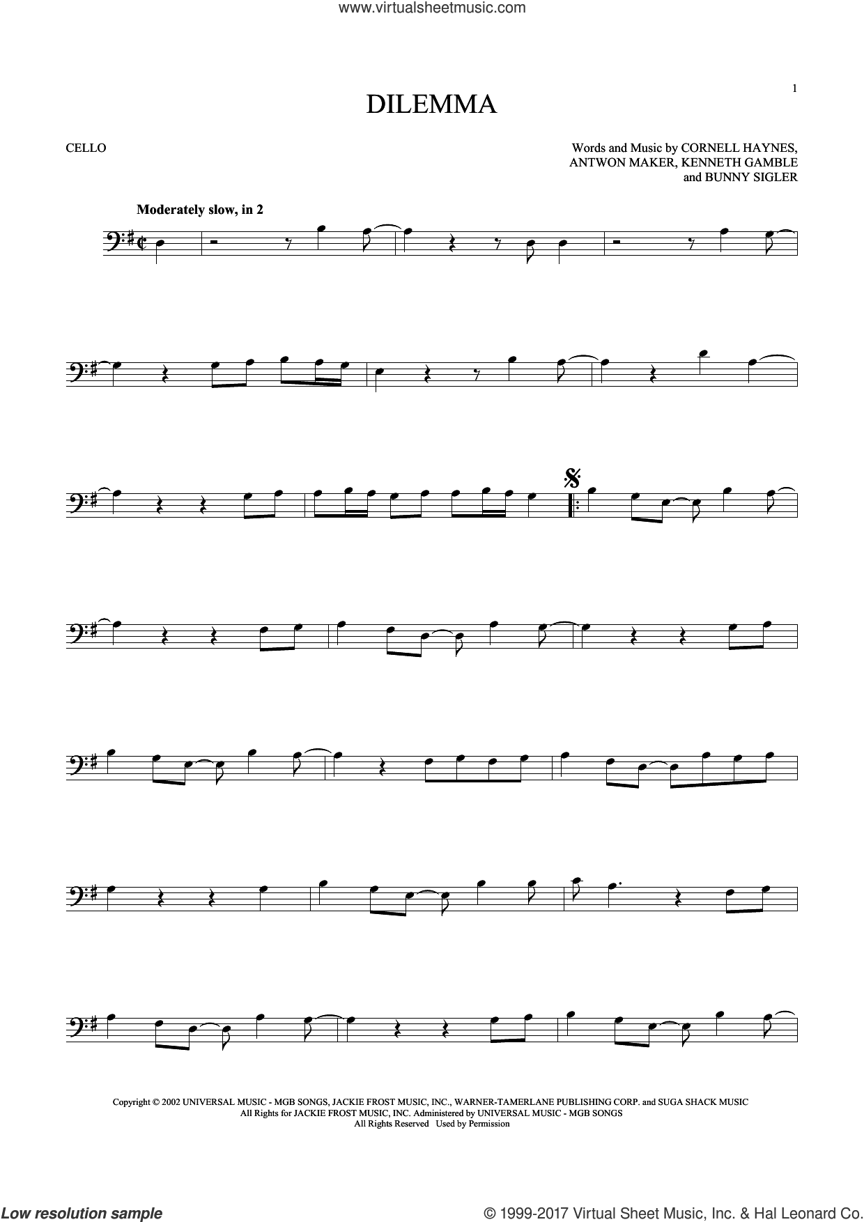 Dilemma sheet music for cello solo by Nelly featuring Kelly Rowland, Antwon Maker, Bunny Sigler, Cornell Haynes and Kenneth Gamble, intermediate skill level