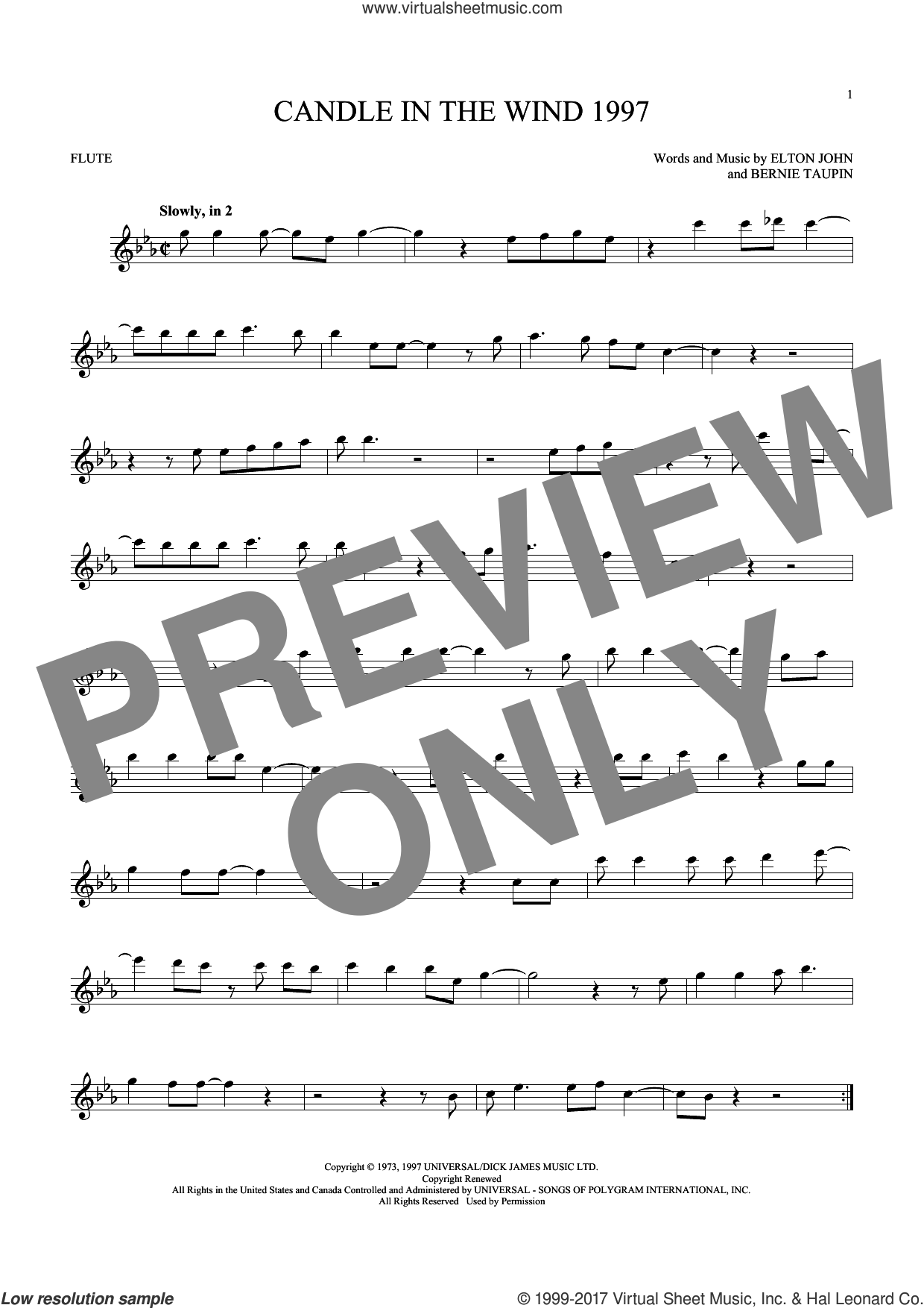 Candle In The Wind 1997 sheet music for flute solo by Elton John, intermediate. Score Image Preview.