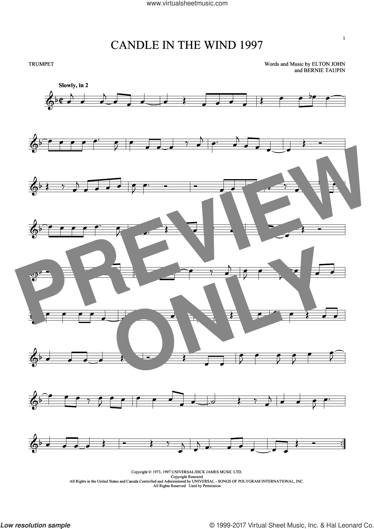 Candle In The Wind 1997 sheet music for trumpet solo by Elton John and Bernie Taupin, intermediate skill level