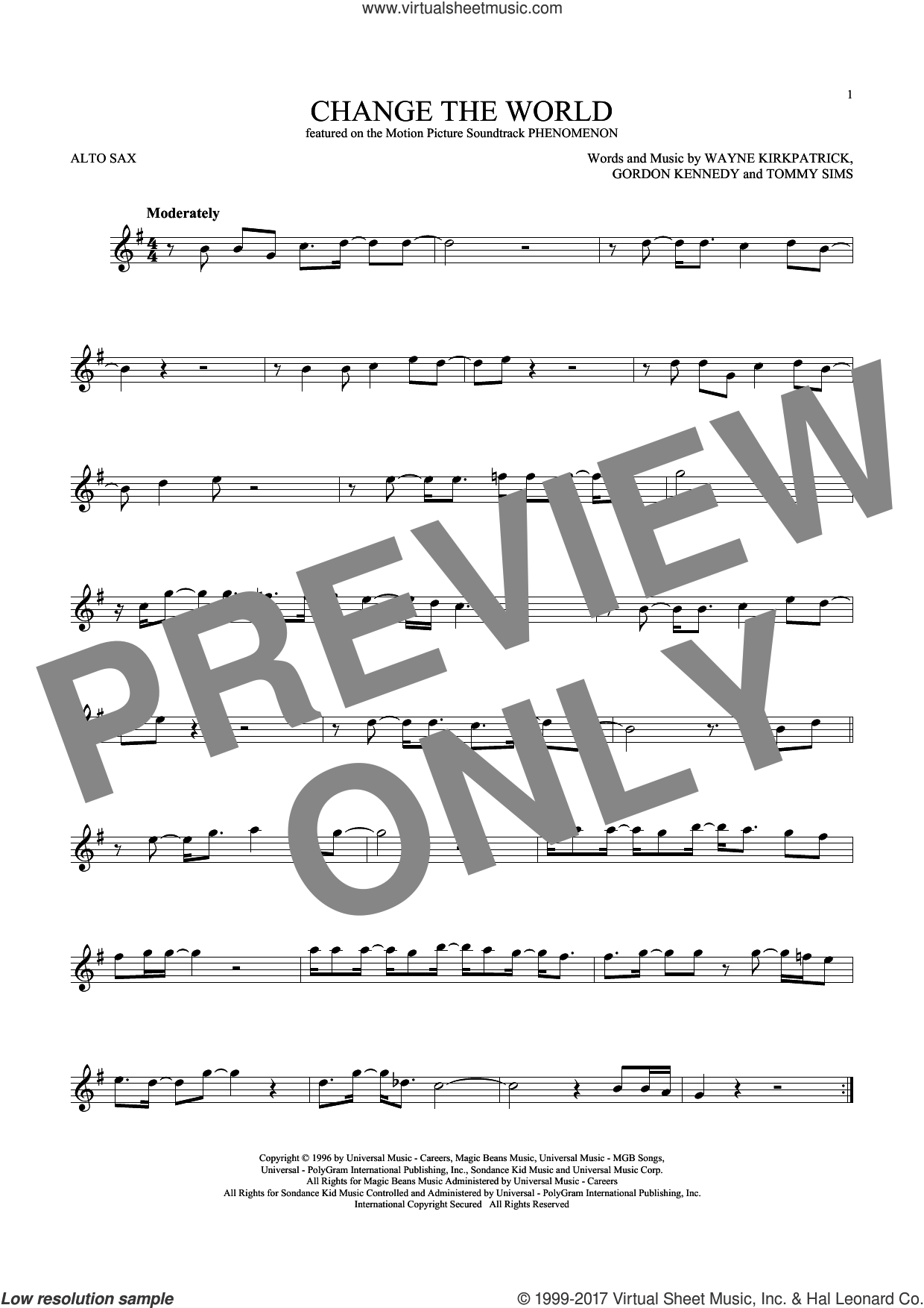 Change The World sheet music for alto saxophone solo ( Sax) by Eric Clapton, Wynonna, Gordon Kennedy, Tommy Sims and Wayne Kirkpatrick, intermediate alto saxophone ( Sax). Score Image Preview.