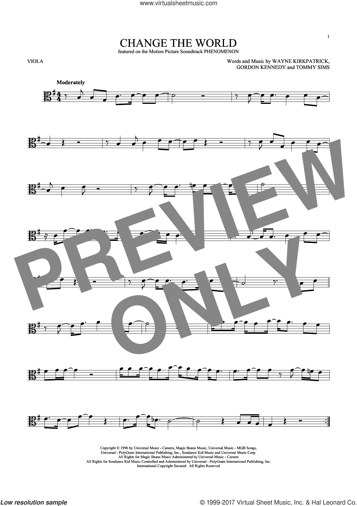 Change The World sheet music for viola solo by Eric Clapton, Wynonna, Gordon Kennedy, Tommy Sims and Wayne Kirkpatrick, intermediate skill level