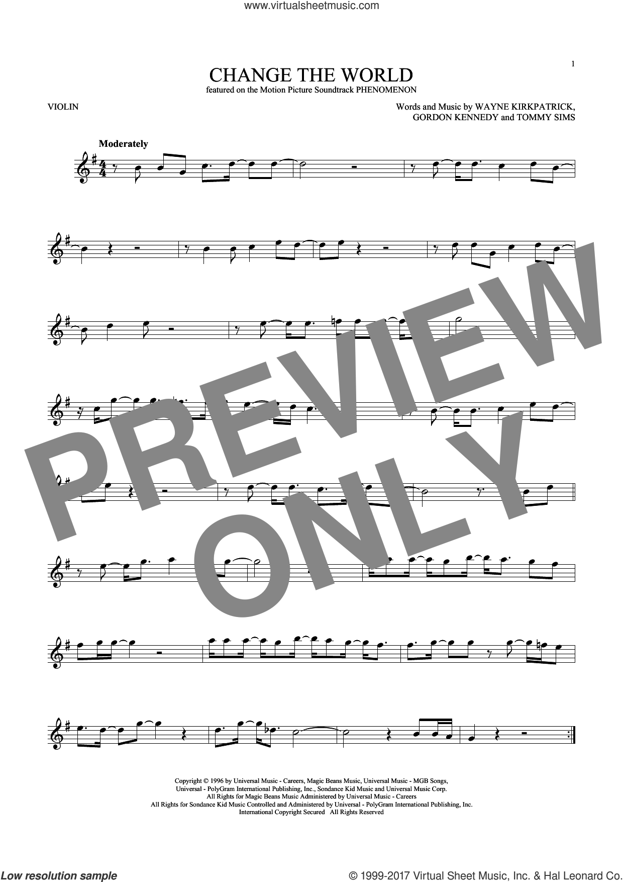 Change The World sheet music for violin solo by Eric Clapton, Wynonna, Gordon Kennedy, Tommy Sims and Wayne Kirkpatrick, intermediate skill level
