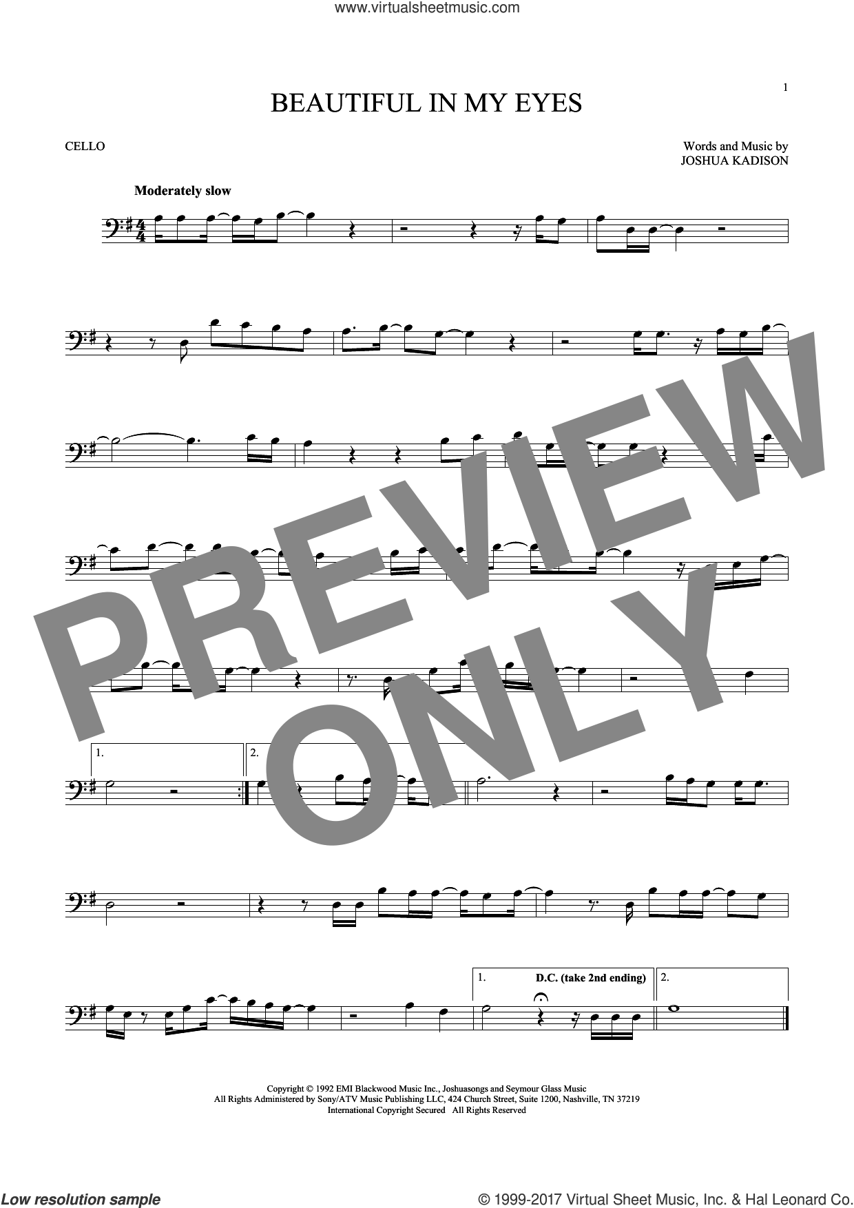 Beautiful In My Eyes sheet music for cello solo by Joshua Kadison, intermediate skill level