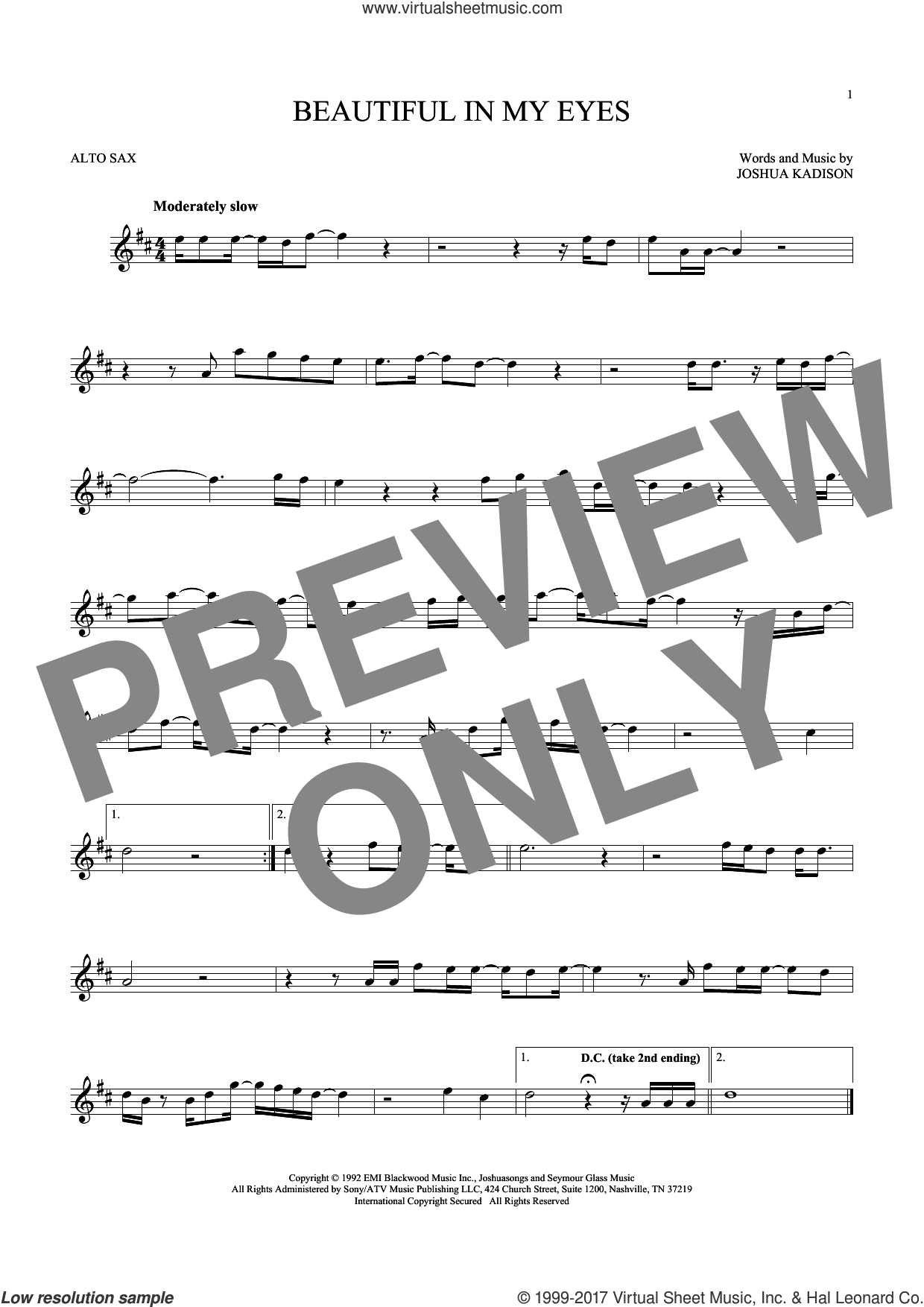 Beautiful In My Eyes sheet music for alto saxophone solo by Joshua Kadison, intermediate skill level