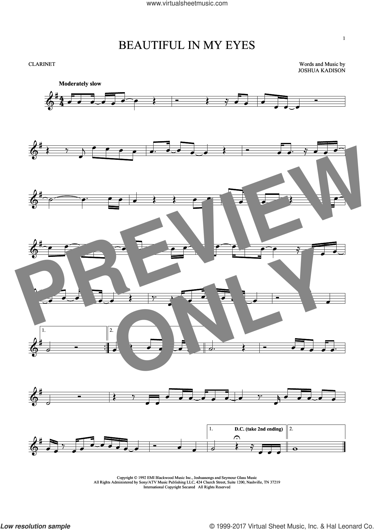 Beautiful In My Eyes sheet music for clarinet solo by Joshua Kadison, intermediate skill level