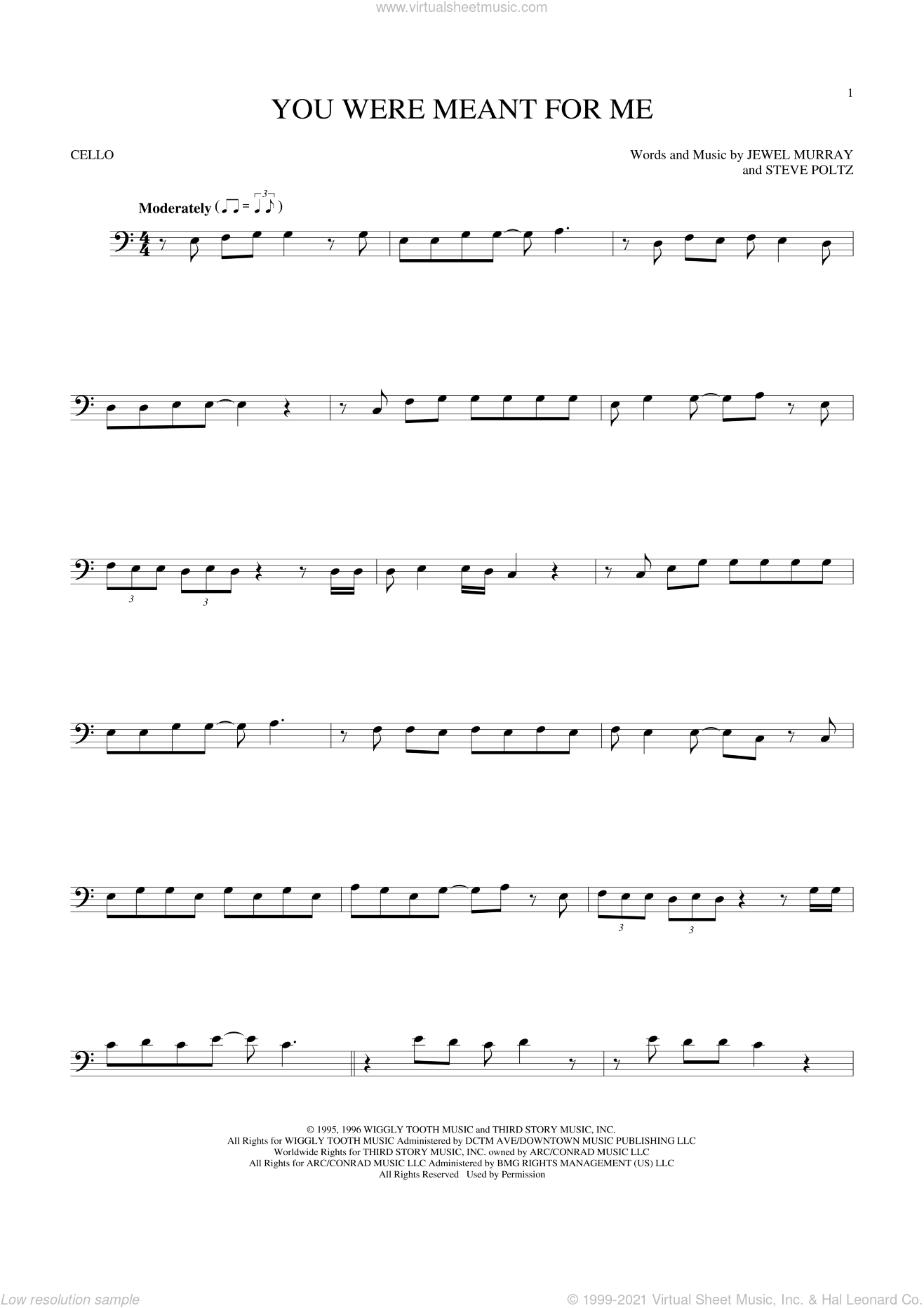 You Were Meant For Me sheet music for cello solo by Jewel and Steve Poltz, intermediate cello. Score Image Preview.