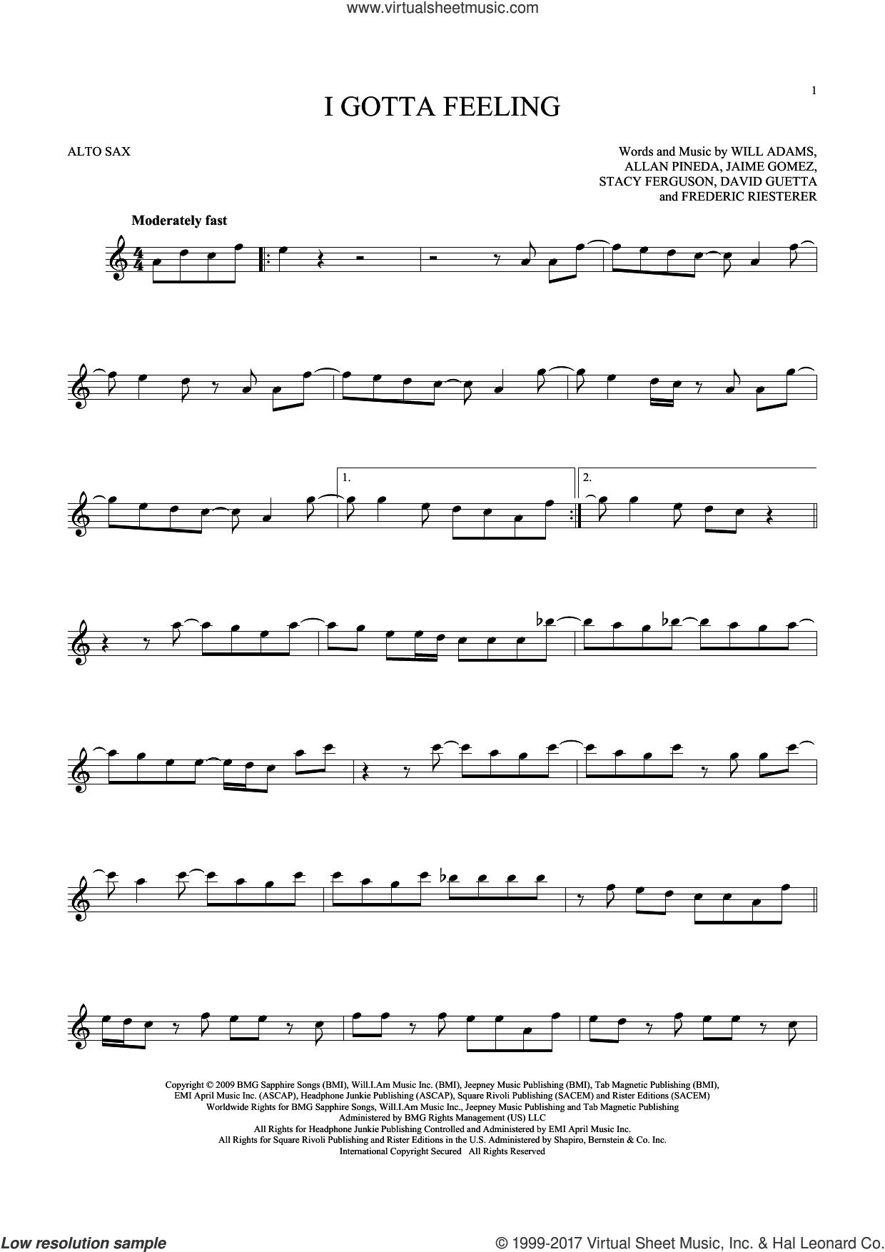 I Gotta Feeling sheet music for alto saxophone solo ( Sax) by Will Adams, Black Eyed Peas, David Guetta and Stacy Ferguson. Score Image Preview.