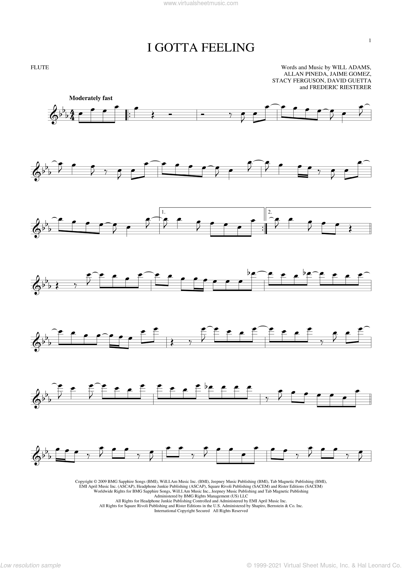 I Gotta Feeling sheet music for flute solo by Will Adams, Black Eyed Peas, Allan Pineda, David Guetta, Frederic Riesterer, Jaime Gomez and Stacy Ferguson, intermediate skill level