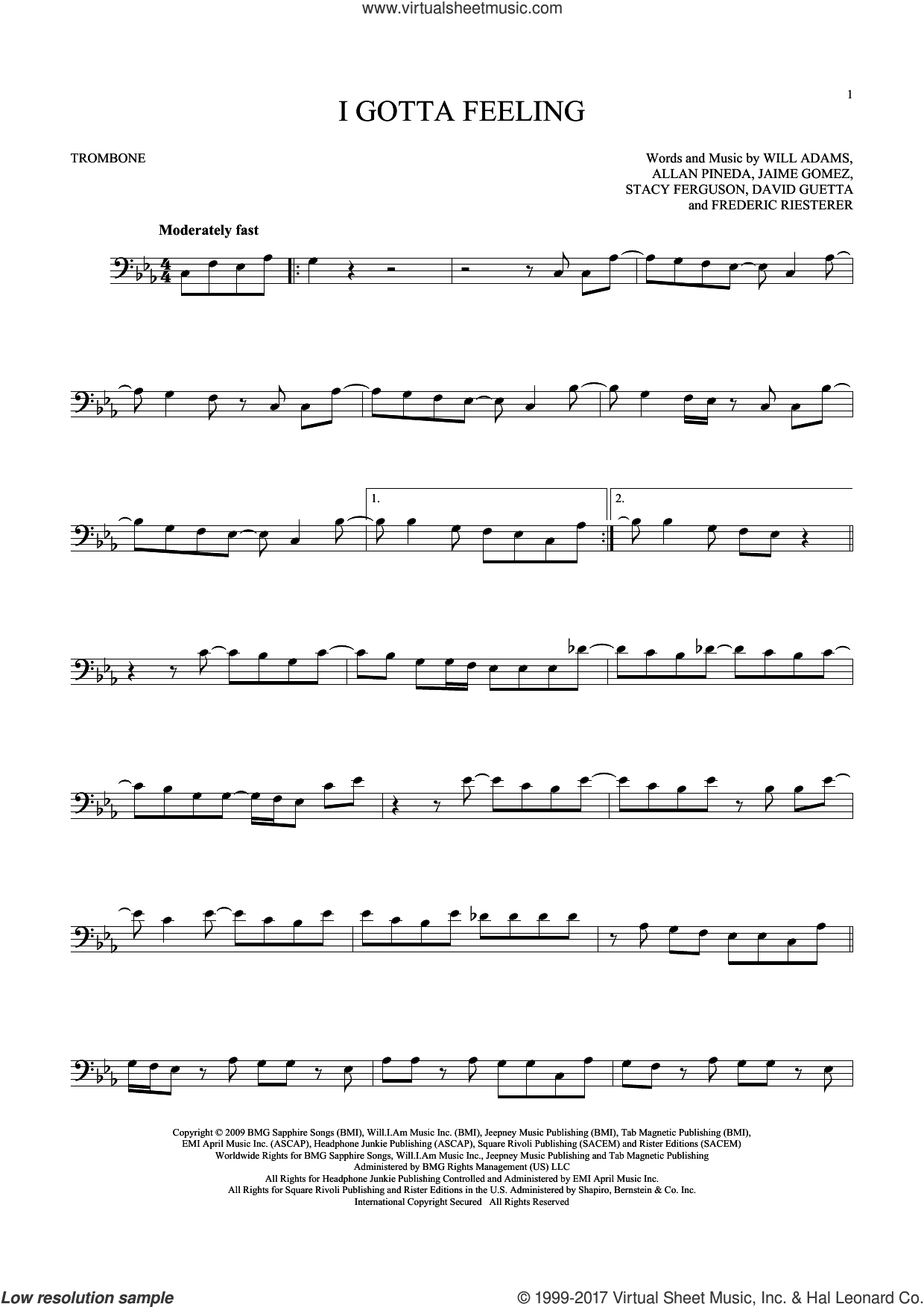 I Gotta Feeling sheet music for trombone solo by Will Adams, Black Eyed Peas, Allan Pineda, David Guetta, Frederic Riesterer, Jaime Gomez and Stacy Ferguson, intermediate skill level