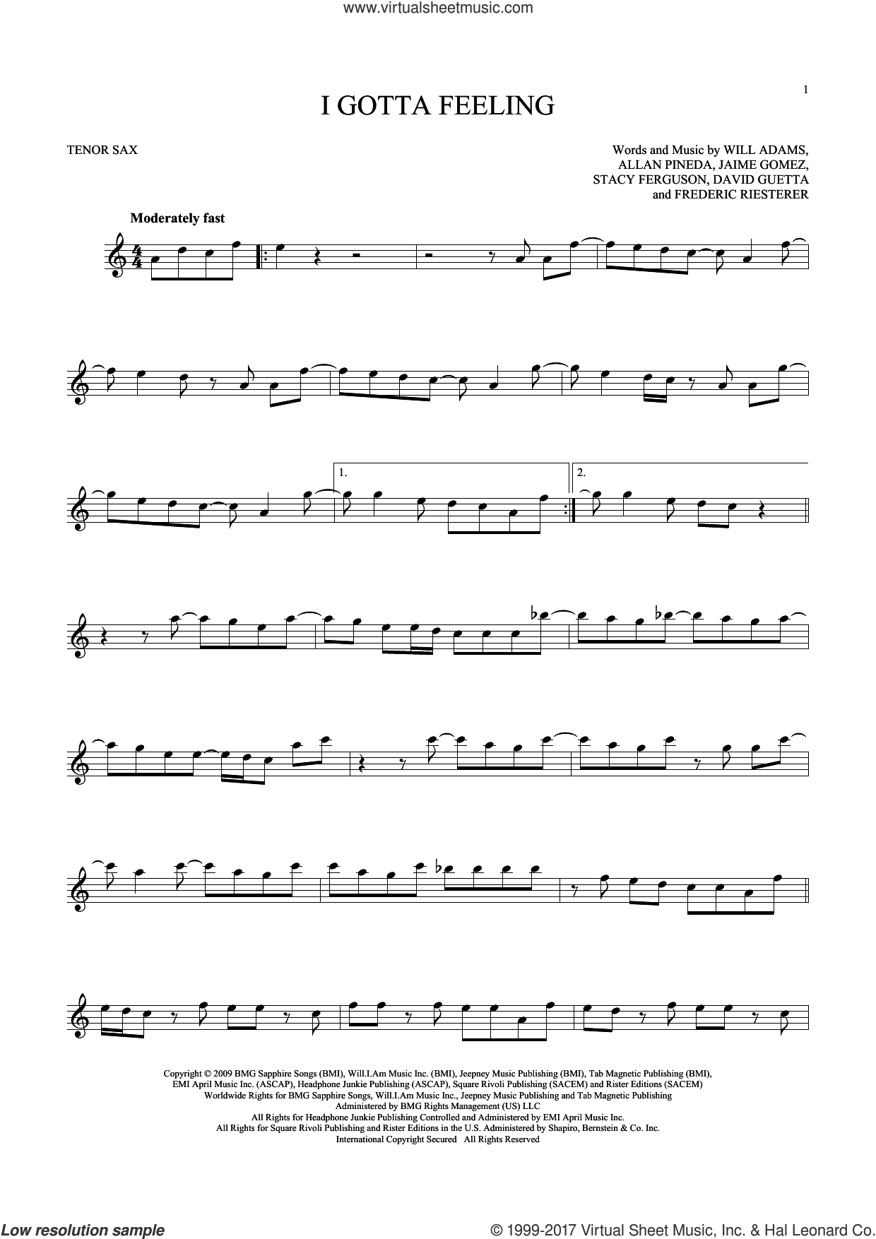 I Gotta Feeling sheet music for tenor saxophone solo by Will Adams, Black Eyed Peas, Allan Pineda, David Guetta, Frederic Riesterer, Jaime Gomez and Stacy Ferguson, intermediate skill level