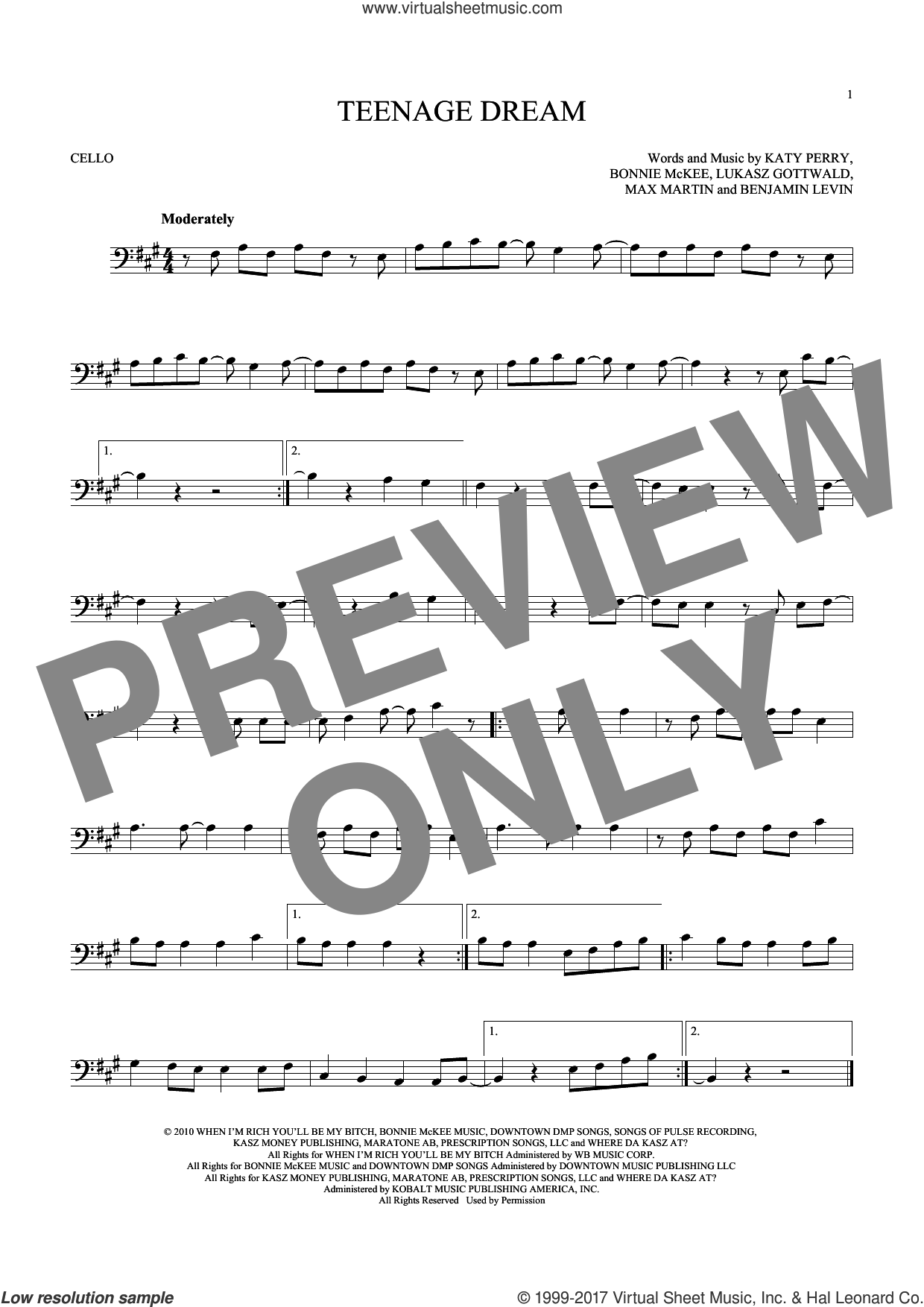 Teenage Dream sheet music for cello solo by Katy Perry, Benjamin Levin, Bonnie McKee, Lukasz Gottwald and Max Martin, intermediate skill level