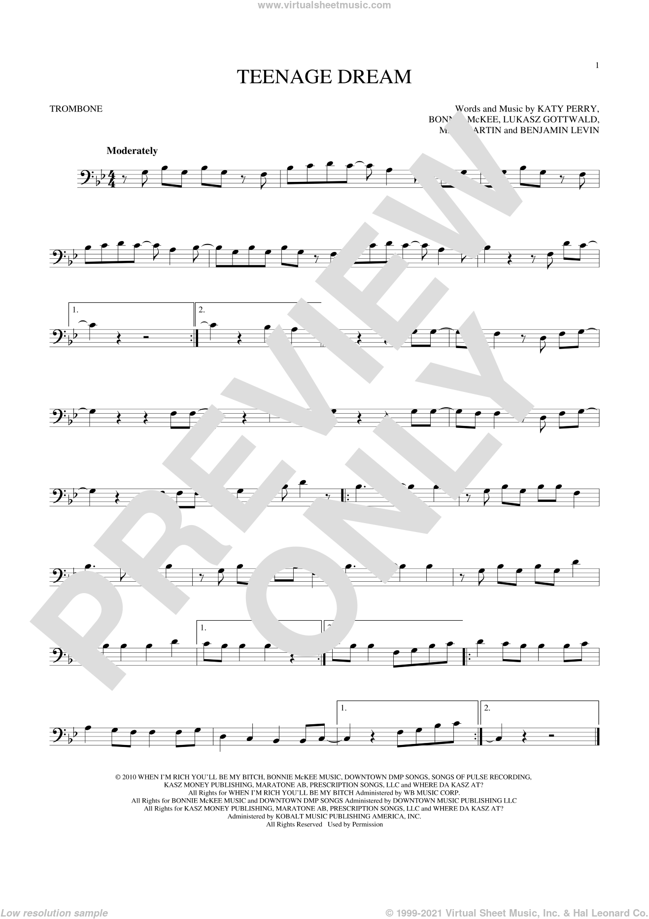 Teenage Dream sheet music for trombone solo by Katy Perry, Benjamin Levin, Bonnie McKee, Lukasz Gottwald and Max Martin, intermediate skill level