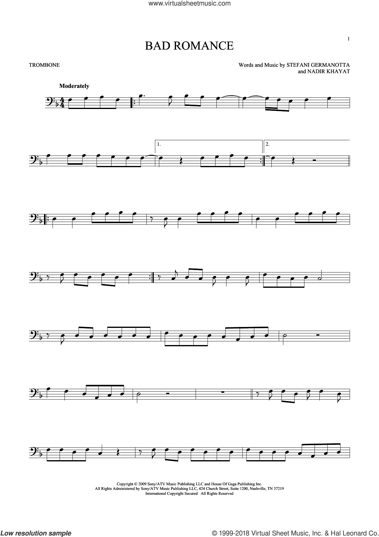 Bad Romance sheet music for trombone solo by Lady Gaga and Nadir Khayat, intermediate skill level