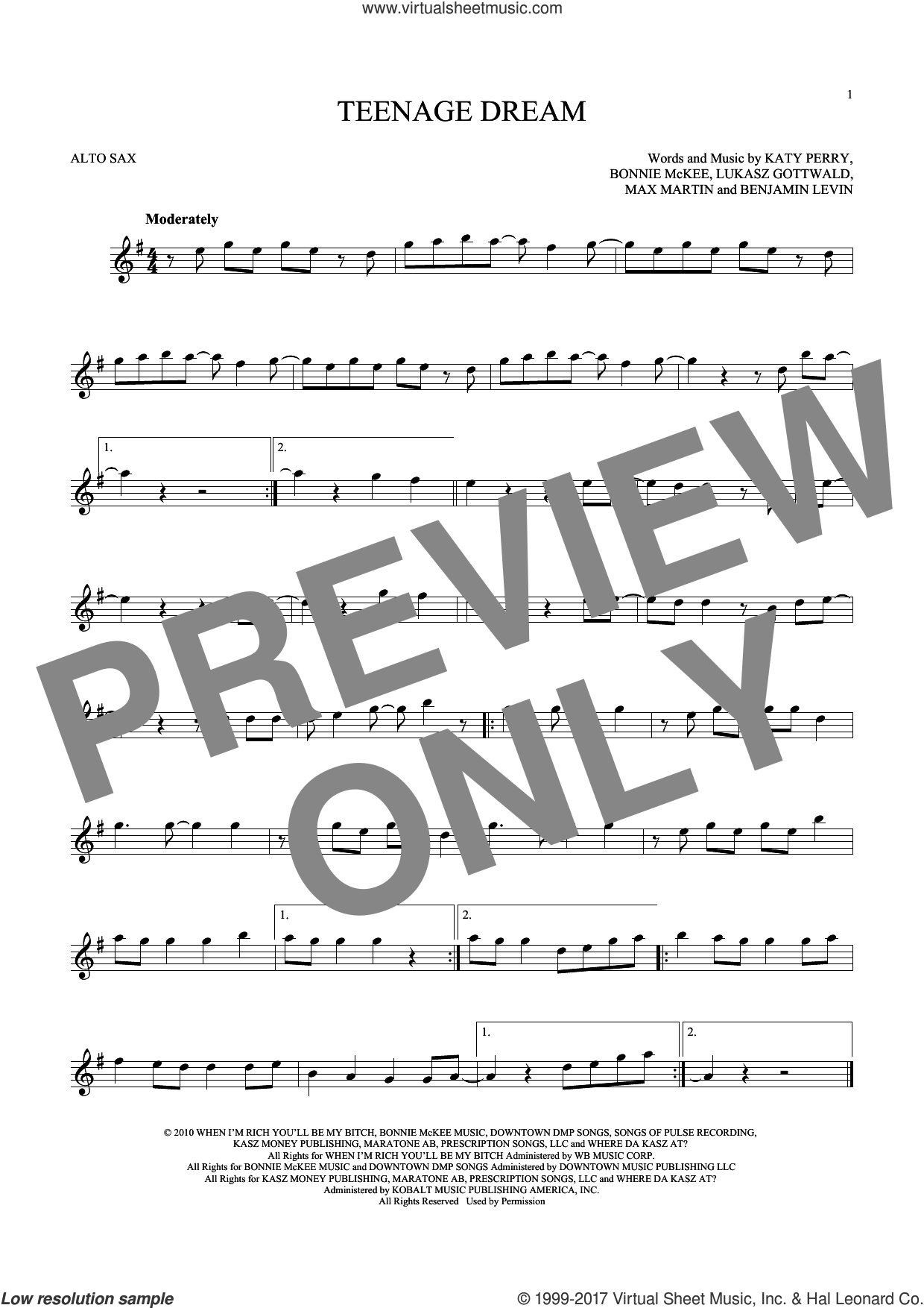 Teenage Dream sheet music for alto saxophone solo ( Sax) by Max Martin, Benjamin Levin, Bonnie McKee, Katy Perry and Lukasz Gottwald. Score Image Preview.
