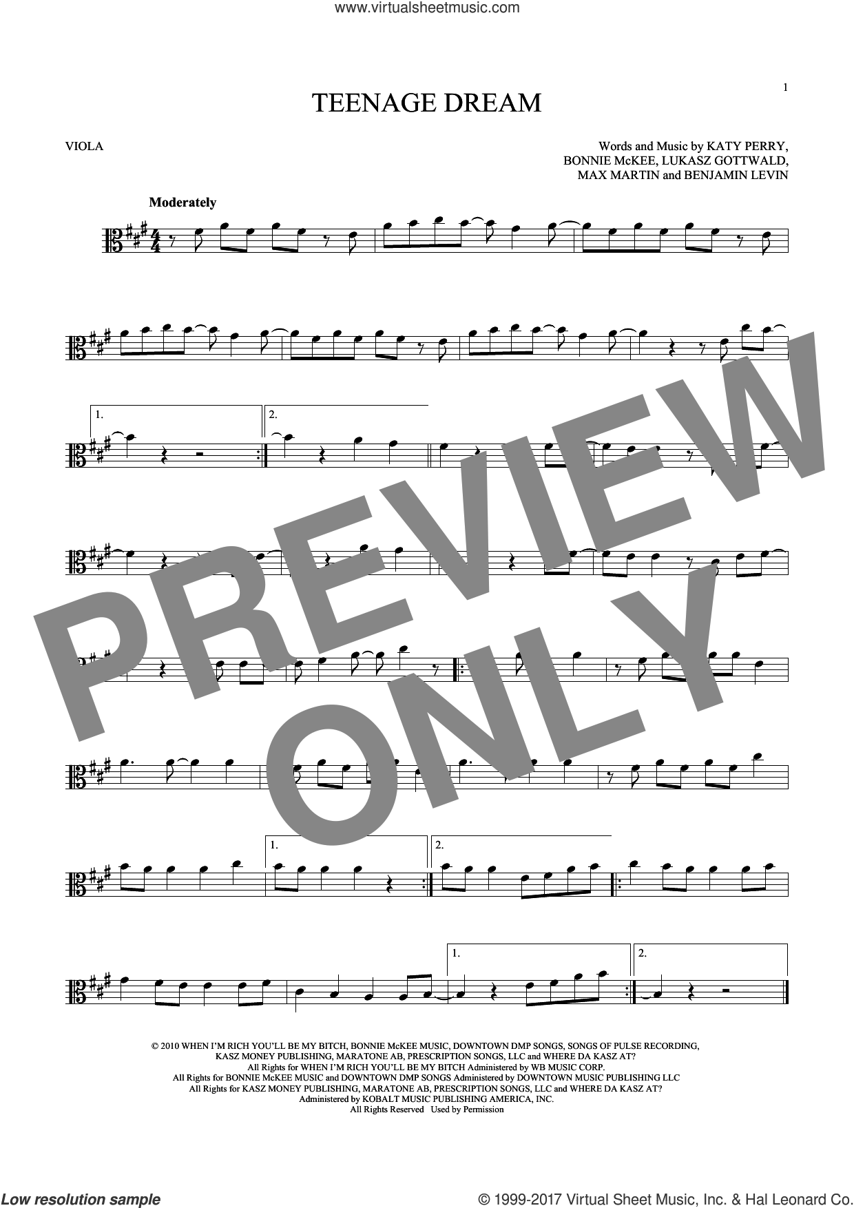 Teenage Dream sheet music for viola solo by Katy Perry, Benjamin Levin, Bonnie McKee, Lukasz Gottwald and Max Martin, intermediate