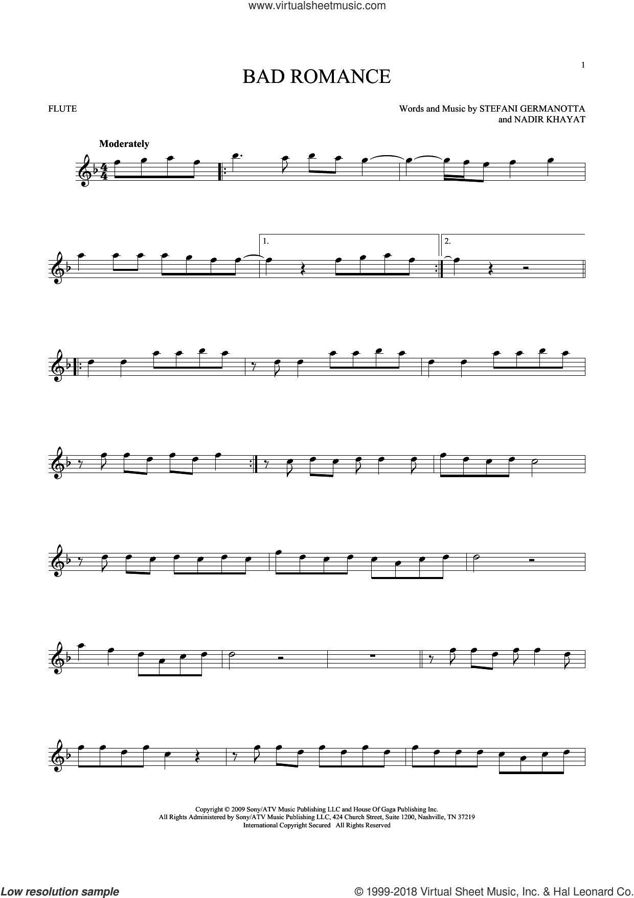 Bad Romance sheet music for flute solo by Lady Gaga and Nadir Khayat, intermediate skill level