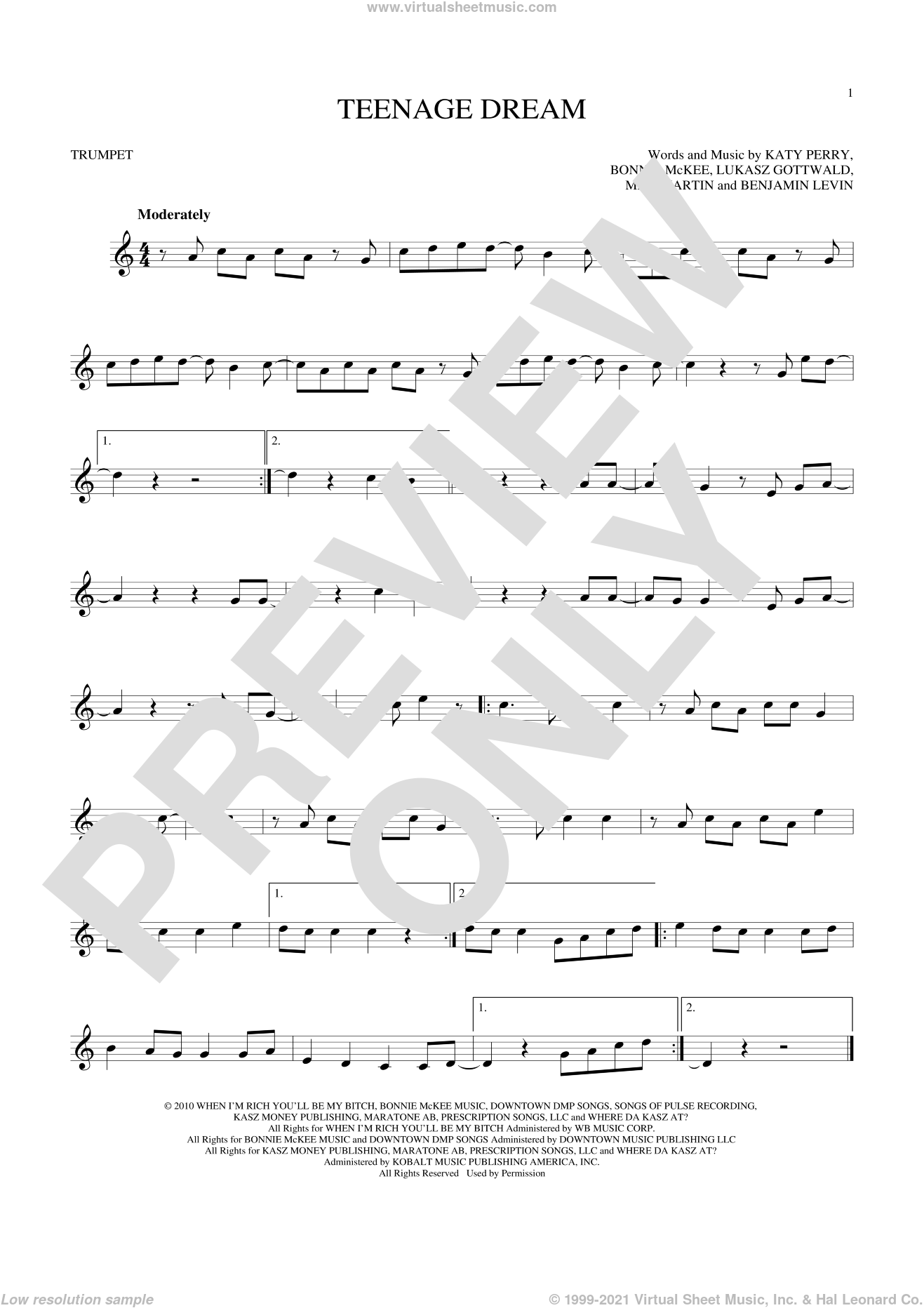 Teenage Dream sheet music for trumpet solo by Max Martin, Benjamin Levin, Bonnie McKee, Katy Perry and Lukasz Gottwald. Score Image Preview.
