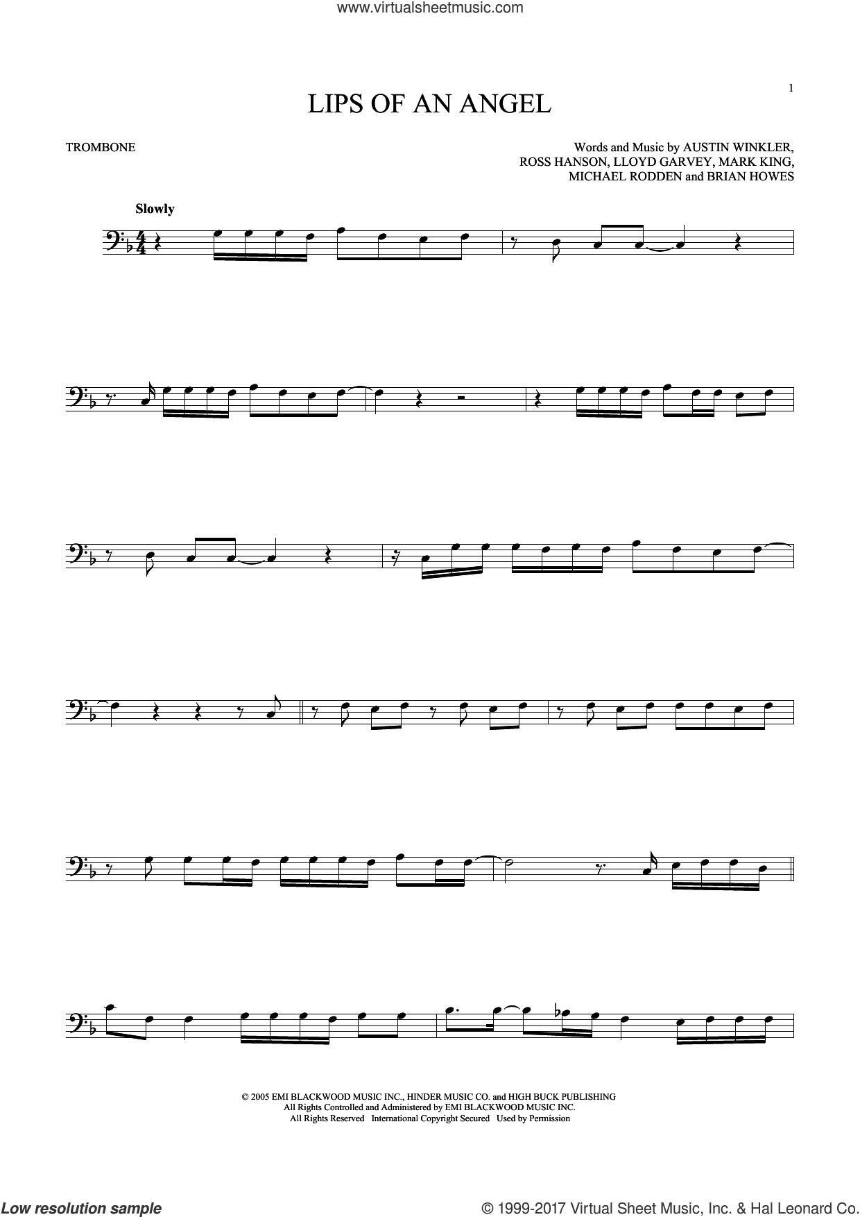 Lips Of An Angel sheet music for trombone solo by Hinder, Jack Ingram and Brian Howes. Score Image Preview.
