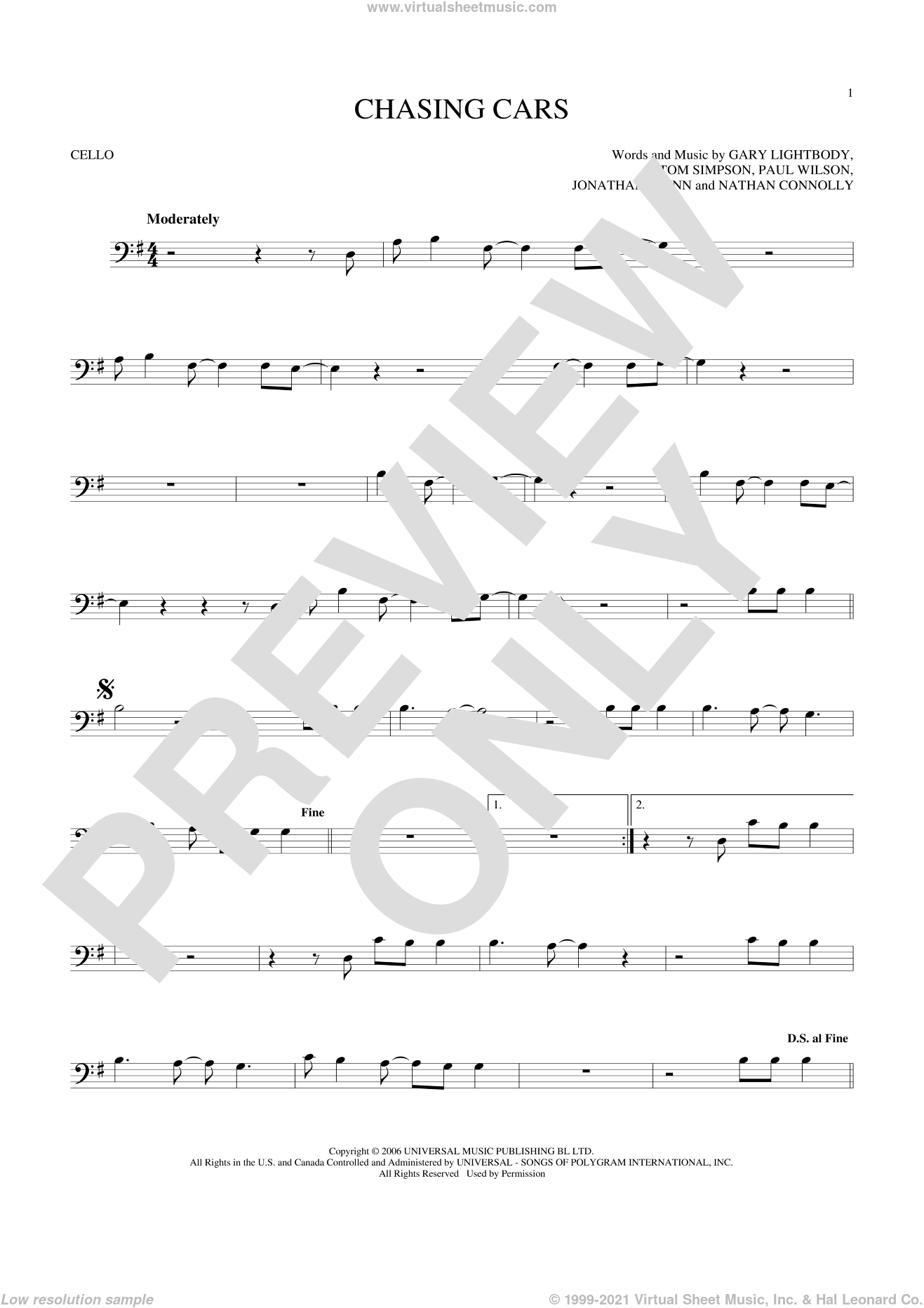 Chasing Cars sheet music for cello solo by Snow Patrol, Gary Lightbody, Jonathan Quinn, Nathan Connolly, Paul Wilson and Tom Simpson, intermediate skill level