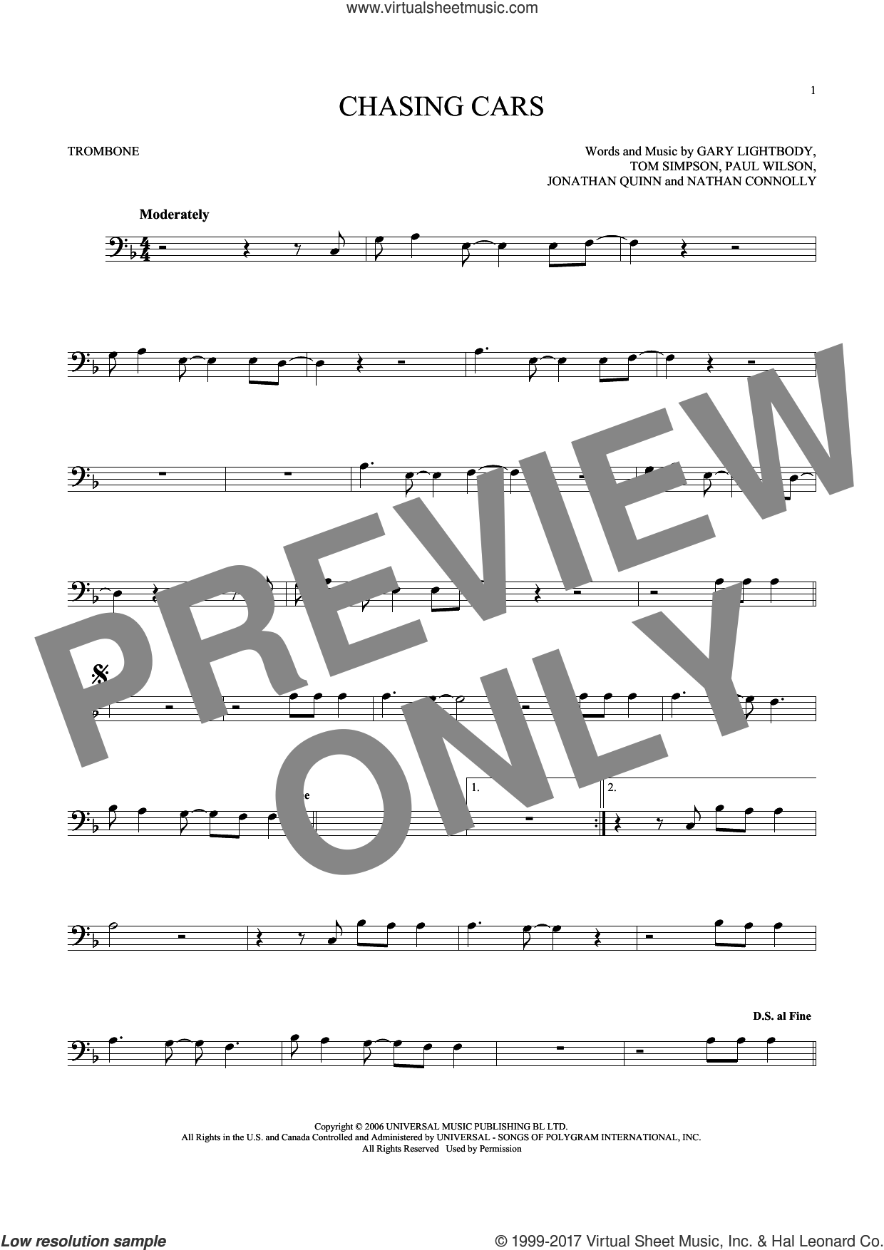 Chasing Cars sheet music for trombone solo by Tom Simpson, Snow Patrol, Gary Lightbody, Nathan Connolly and Paul Wilson. Score Image Preview.