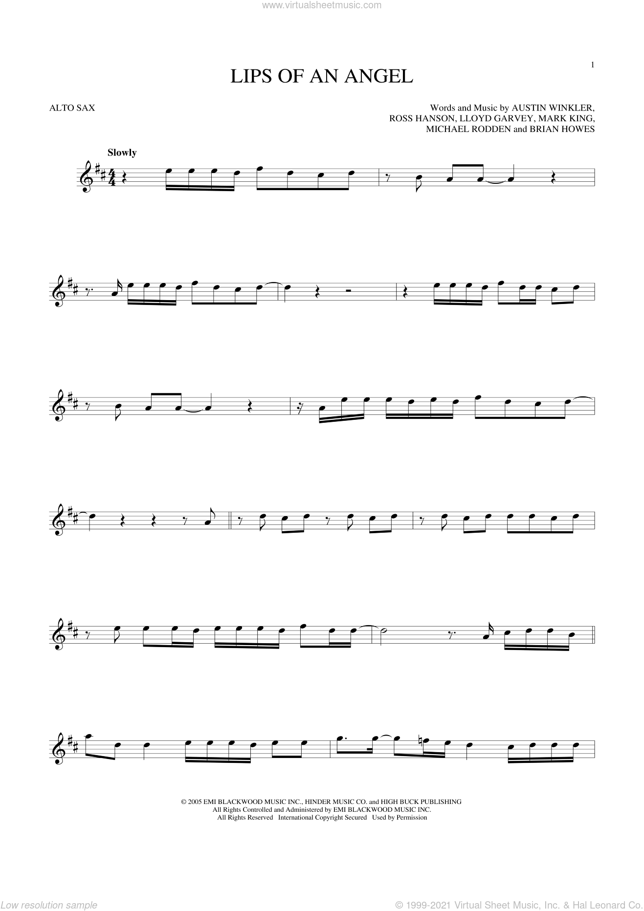 Lips Of An Angel sheet music for alto saxophone solo ( Sax) by Hinder, Jack Ingram and Brian Howes, intermediate alto saxophone ( Sax). Score Image Preview.