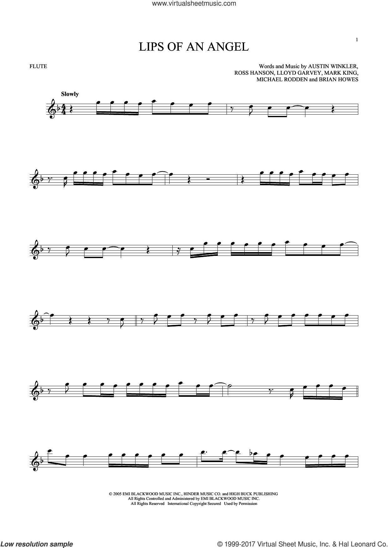 Lips Of An Angel sheet music for flute solo by Hinder, Jack Ingram, Austin Winkler, Brian Howes, Lloyd Garvey, Mark King, Michael Rodden and Ross Hanson, intermediate skill level