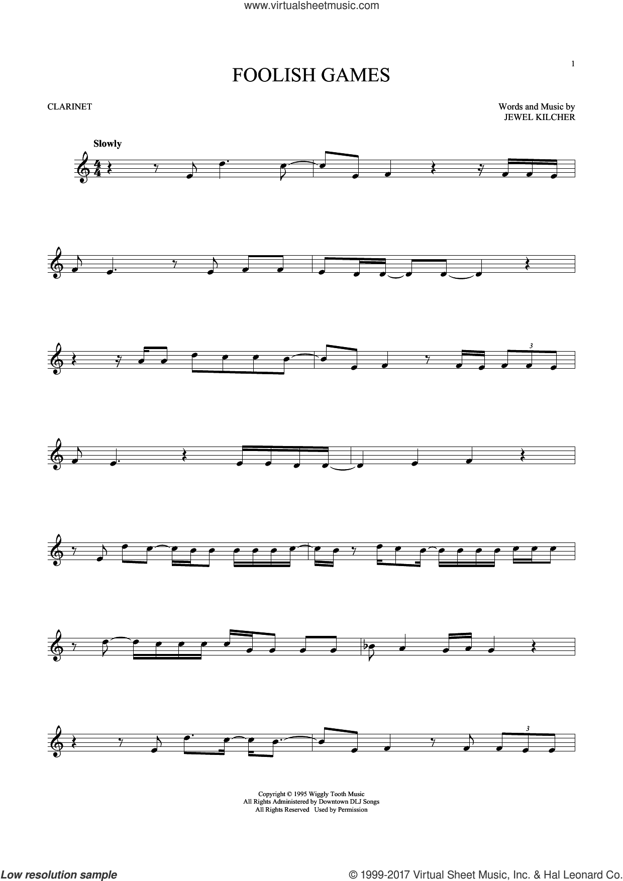Foolish Games sheet music for clarinet solo by Jewel and Jewel Kilcher, intermediate clarinet. Score Image Preview.