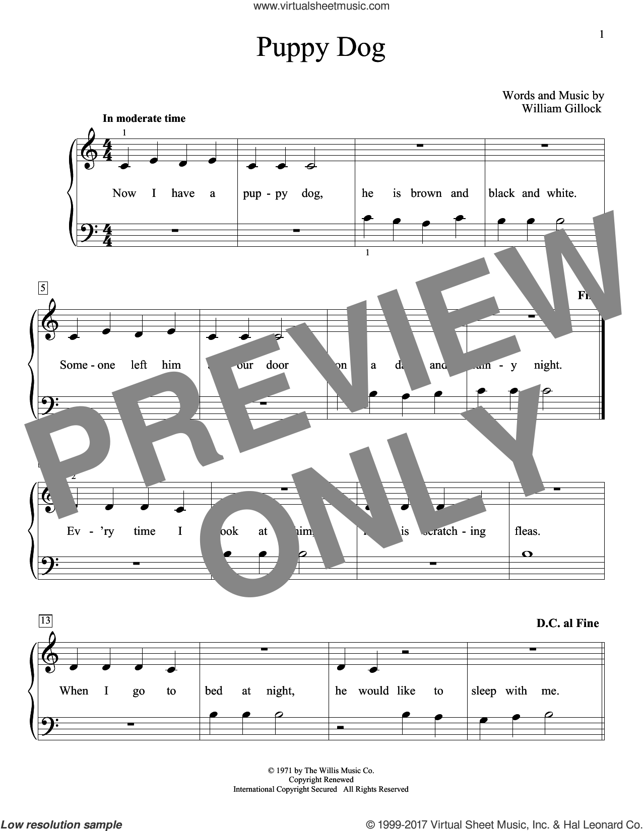 Puppy Dog sheet music for piano solo (elementary) by William Gillock, beginner piano (elementary). Score Image Preview.