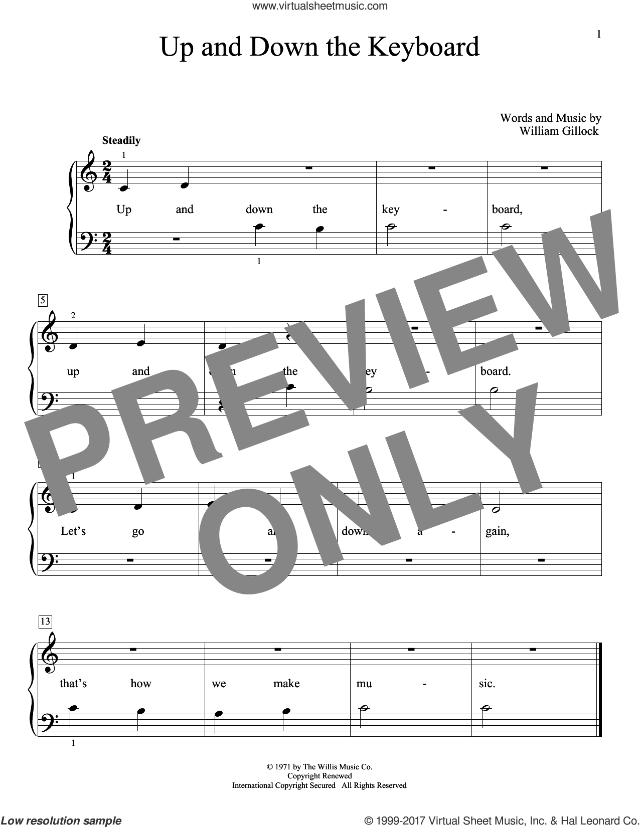 Up And Down The Keyboard sheet music for piano solo (elementary) by William Gillock. Score Image Preview.