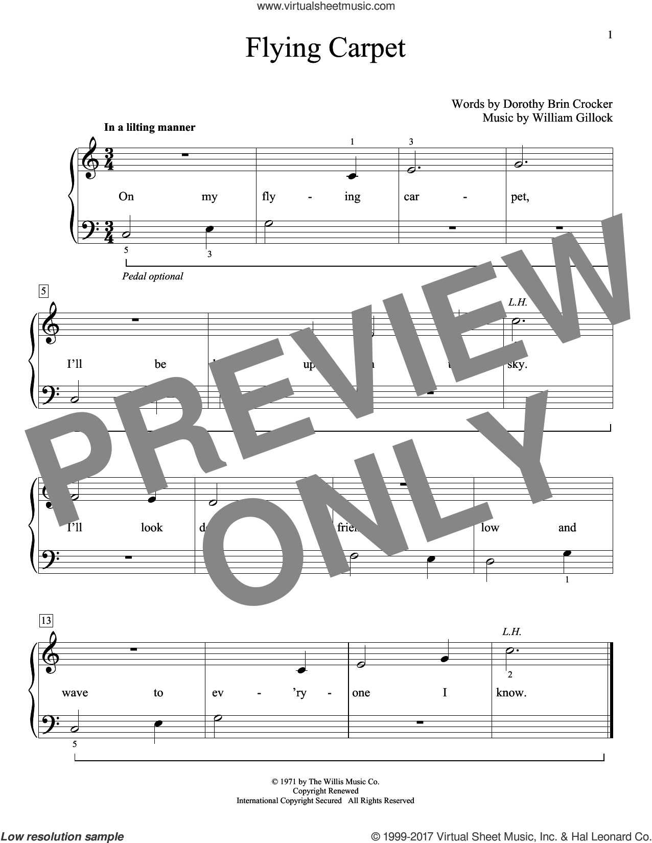 Flying Carpet sheet music for piano solo (elementary) by William Gillock and Dorothy Brin Crocker, beginner piano (elementary)