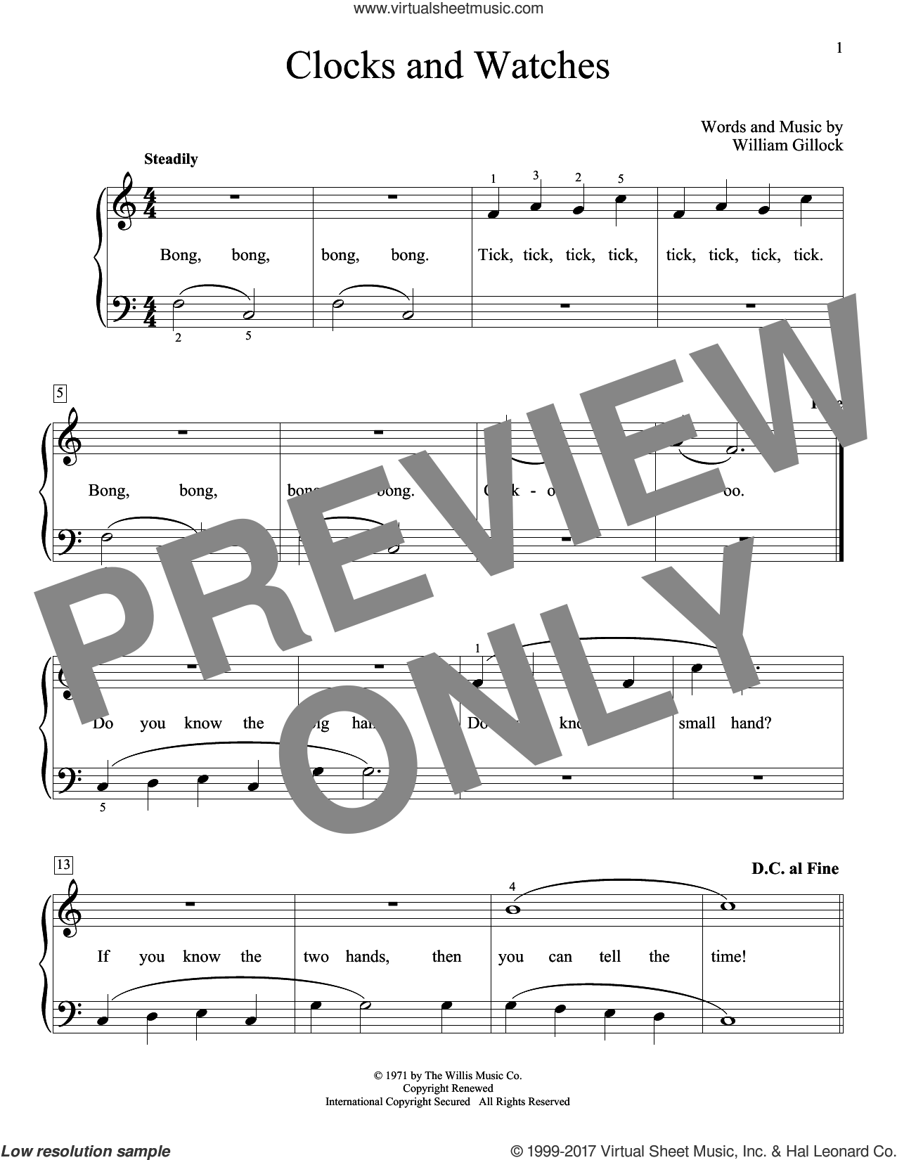 Clocks And Watches sheet music for piano solo (elementary) by William Gillock. Score Image Preview.