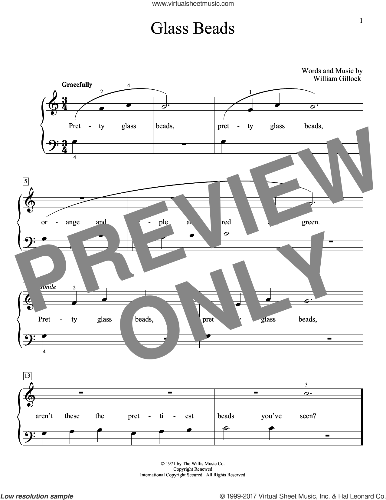 Glass Beads sheet music for piano solo (elementary) by William Gillock, beginner piano (elementary). Score Image Preview.