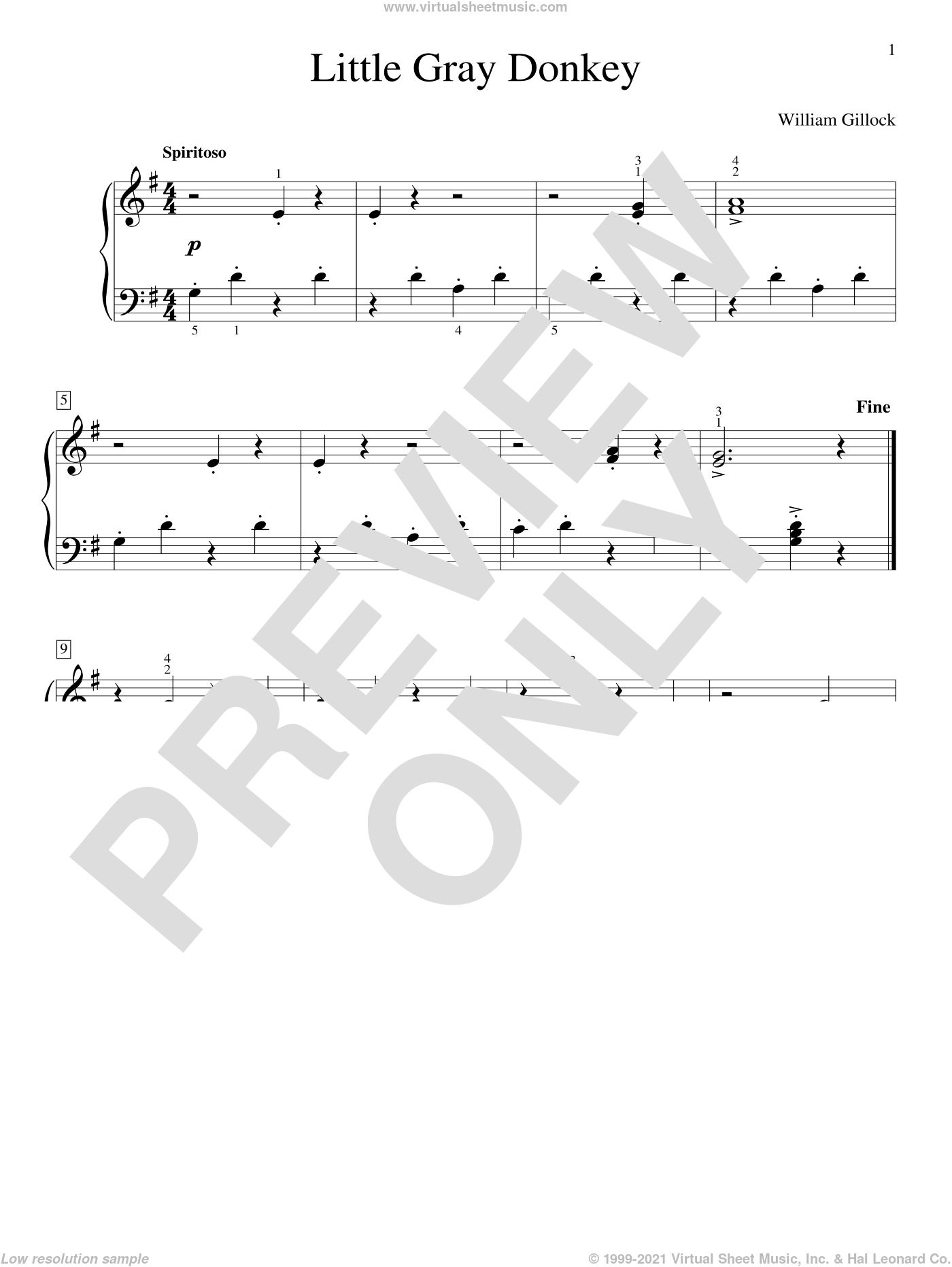 Little Gray Donkey sheet music for piano solo (elementary) by William Gillock, beginner piano (elementary)