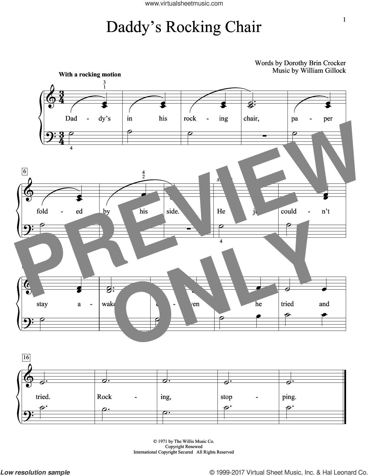 Daddy's Rocking Chair sheet music for piano solo (elementary) by William Gillock and Dorothy Brin Crocker, beginner piano (elementary)
