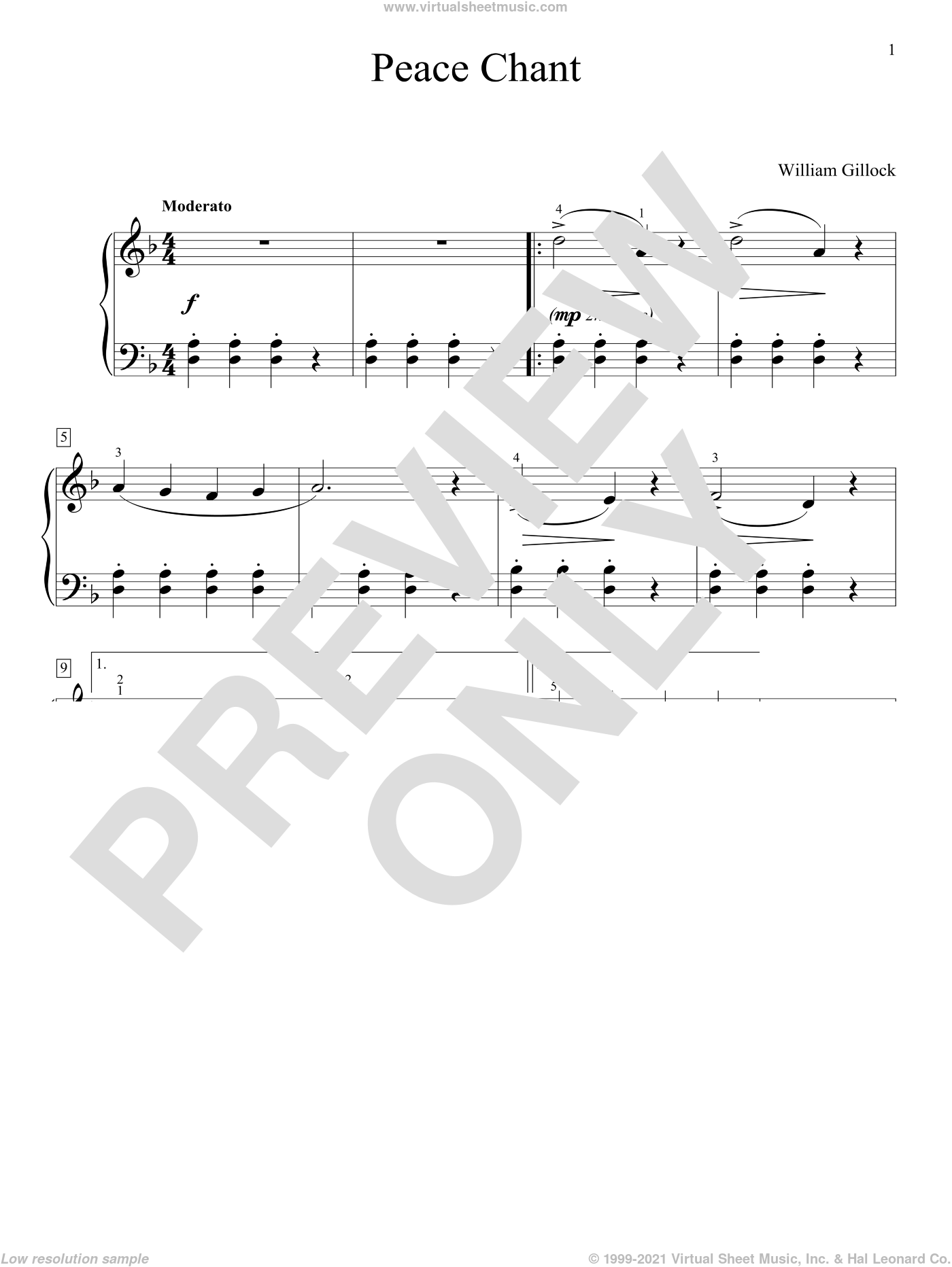Indian War Chant sheet music for piano solo (elementary) by William Gillock. Score Image Preview.