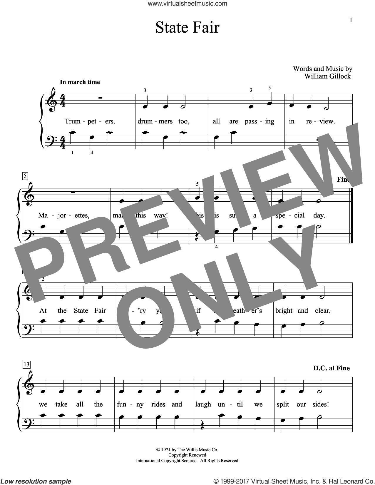 State Fair sheet music for piano solo (elementary) by William Gillock, beginner piano (elementary). Score Image Preview.