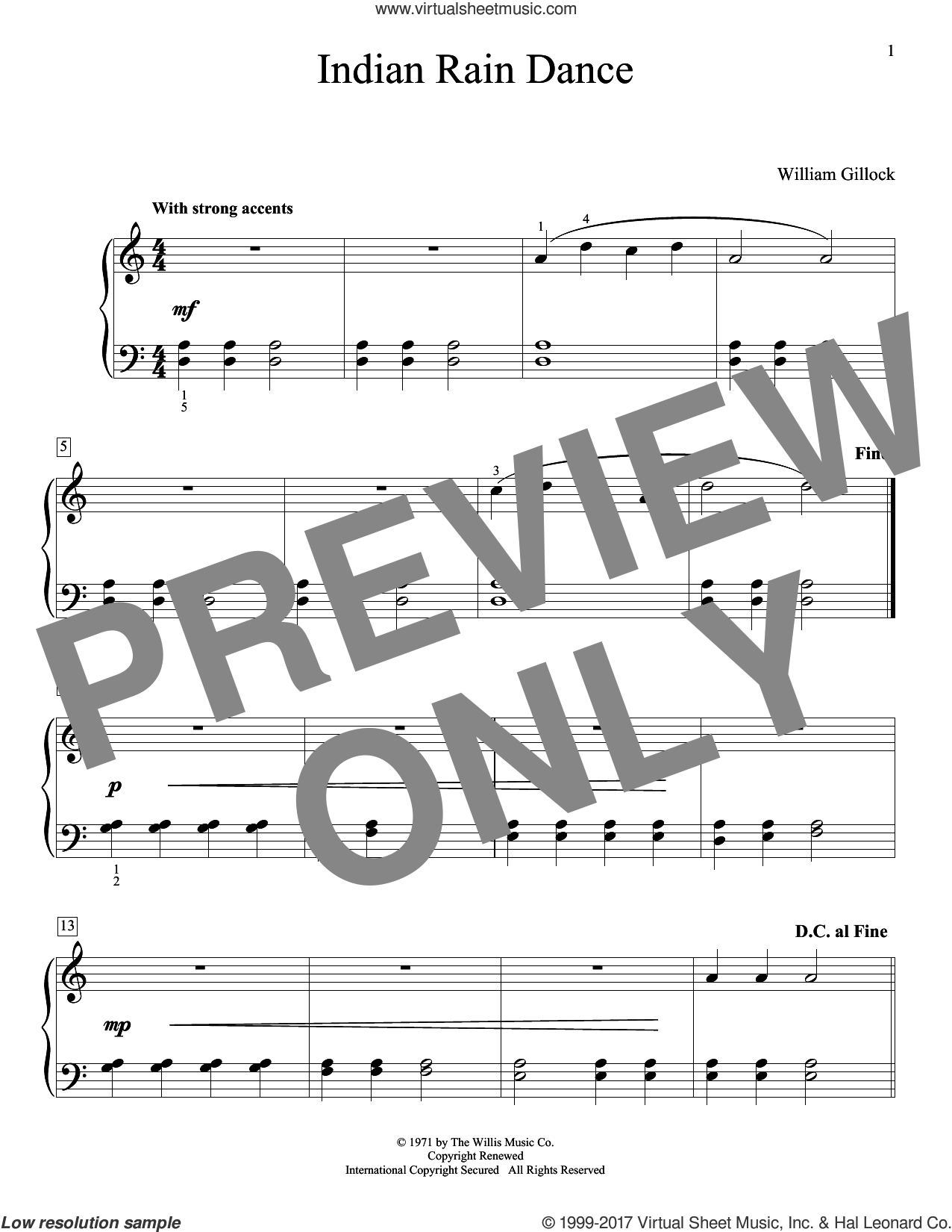Indian Rain Dance sheet music for piano solo (elementary) by William Gillock, beginner piano (elementary)