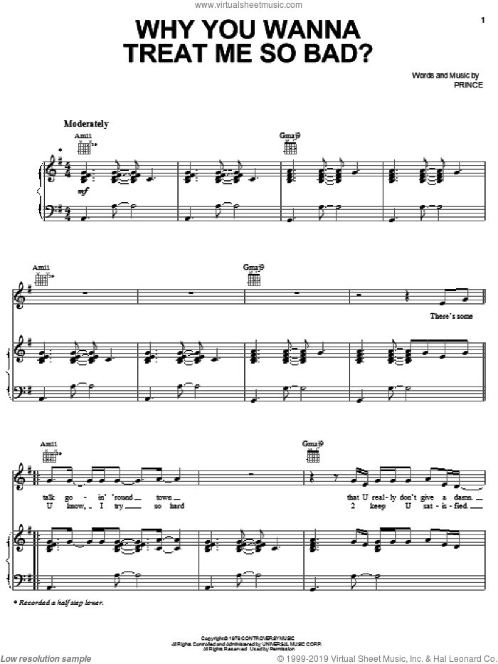 Why You Wanna Treat Me So Bad sheet music for voice, piano or guitar by Prince, intermediate skill level