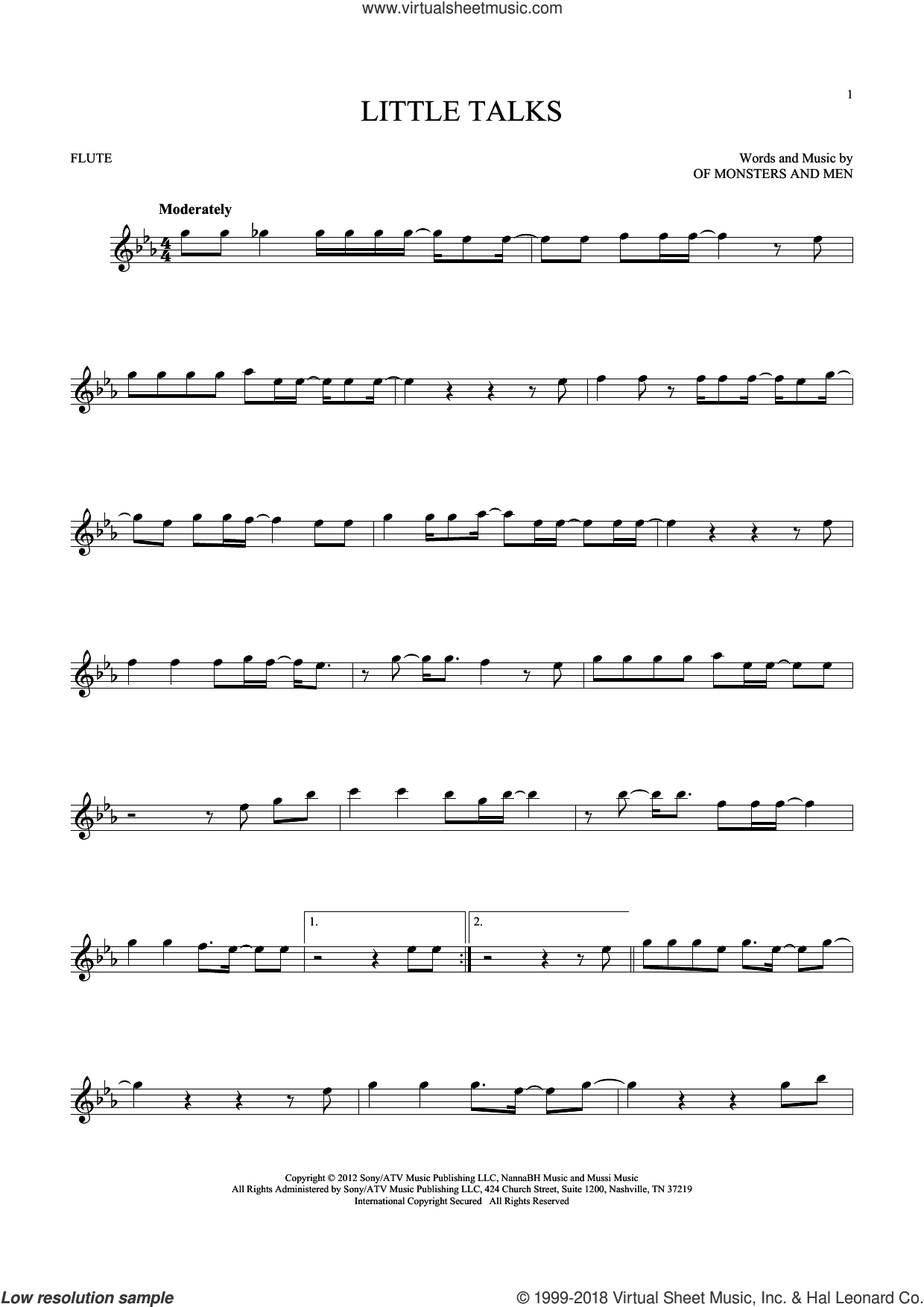 Little Talks sheet music for flute solo by Of Monsters And Men, intermediate skill level