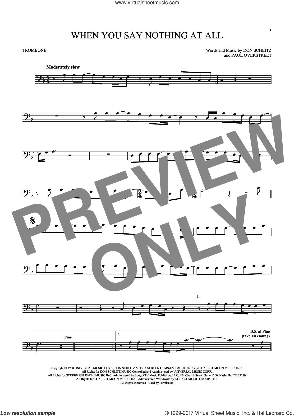 When You Say Nothing At All sheet music for trombone solo by Alison Krauss & Union Station, Keith Whitley, Don Schlitz and Paul Overstreet, wedding score, intermediate skill level