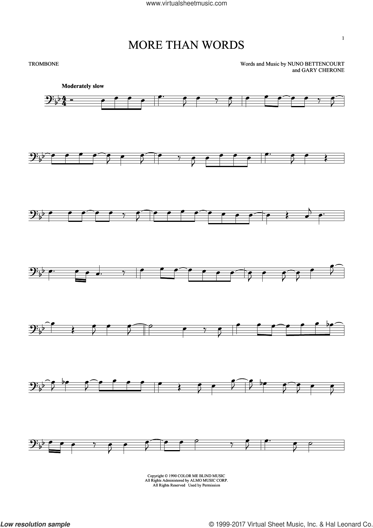 More Than Words sheet music for trombone solo by Extreme, Gary Cherone and Nuno Bettencourt, intermediate. Score Image Preview.