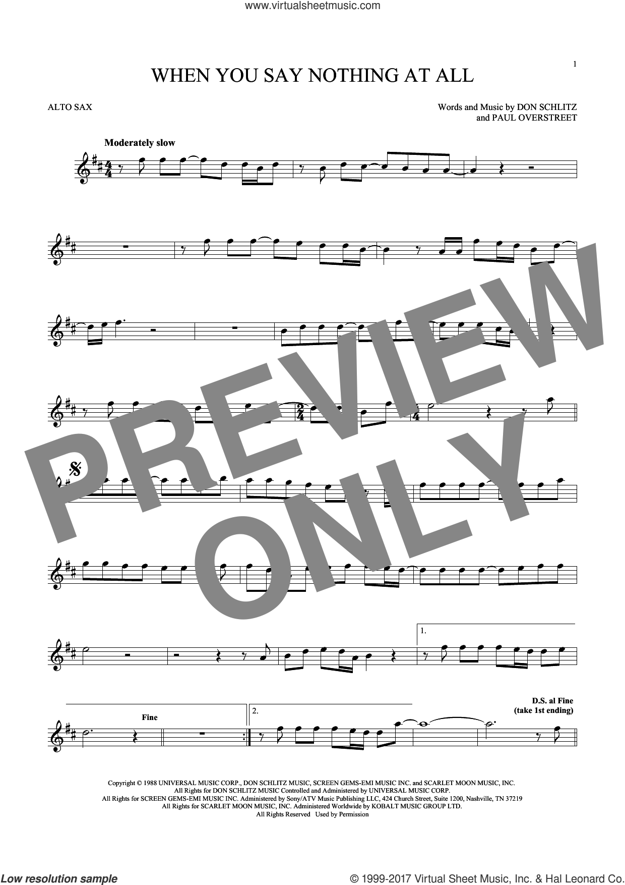 When You Say Nothing At All sheet music for alto saxophone solo ( Sax) by Alison Krauss & Union Station, Keith Whitley, Don Schlitz and Paul Overstreet, wedding score, intermediate alto saxophone ( Sax)